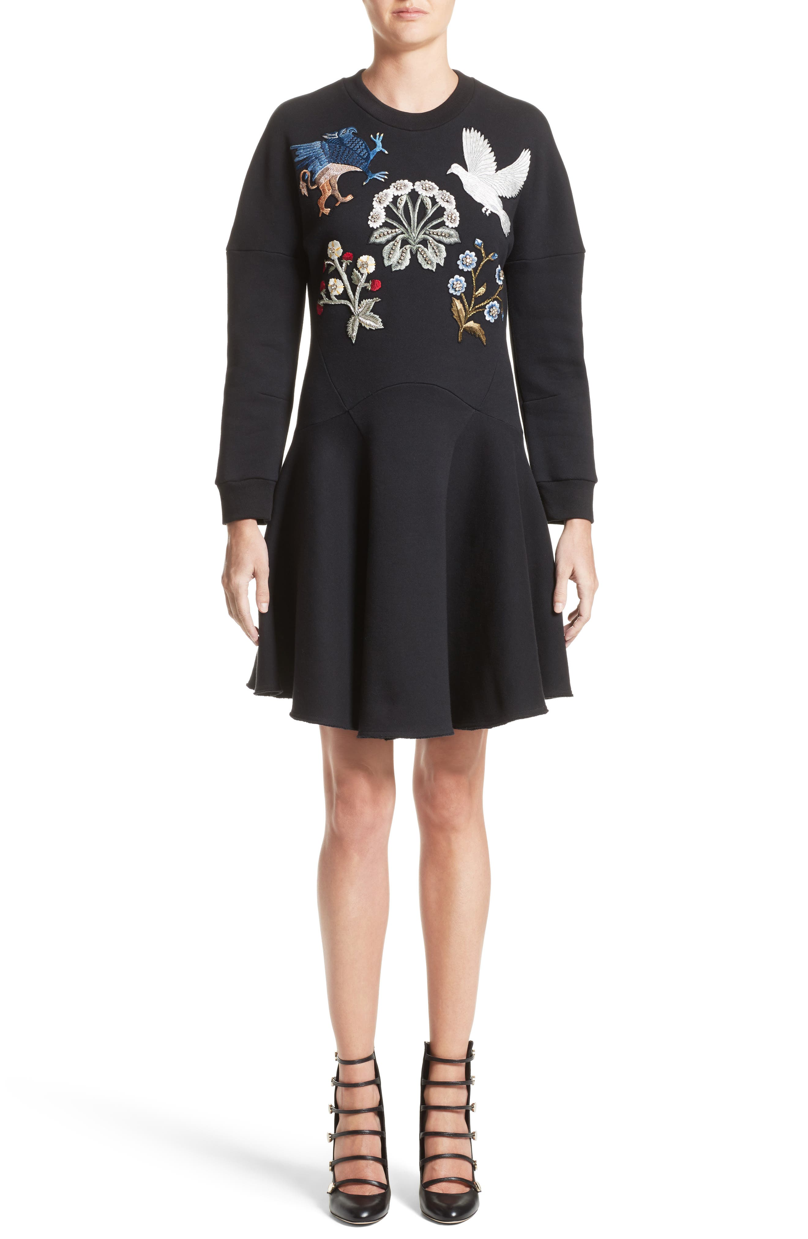 Embroidered Sweatshirt Dress,                             Main thumbnail 1, color,                             Black