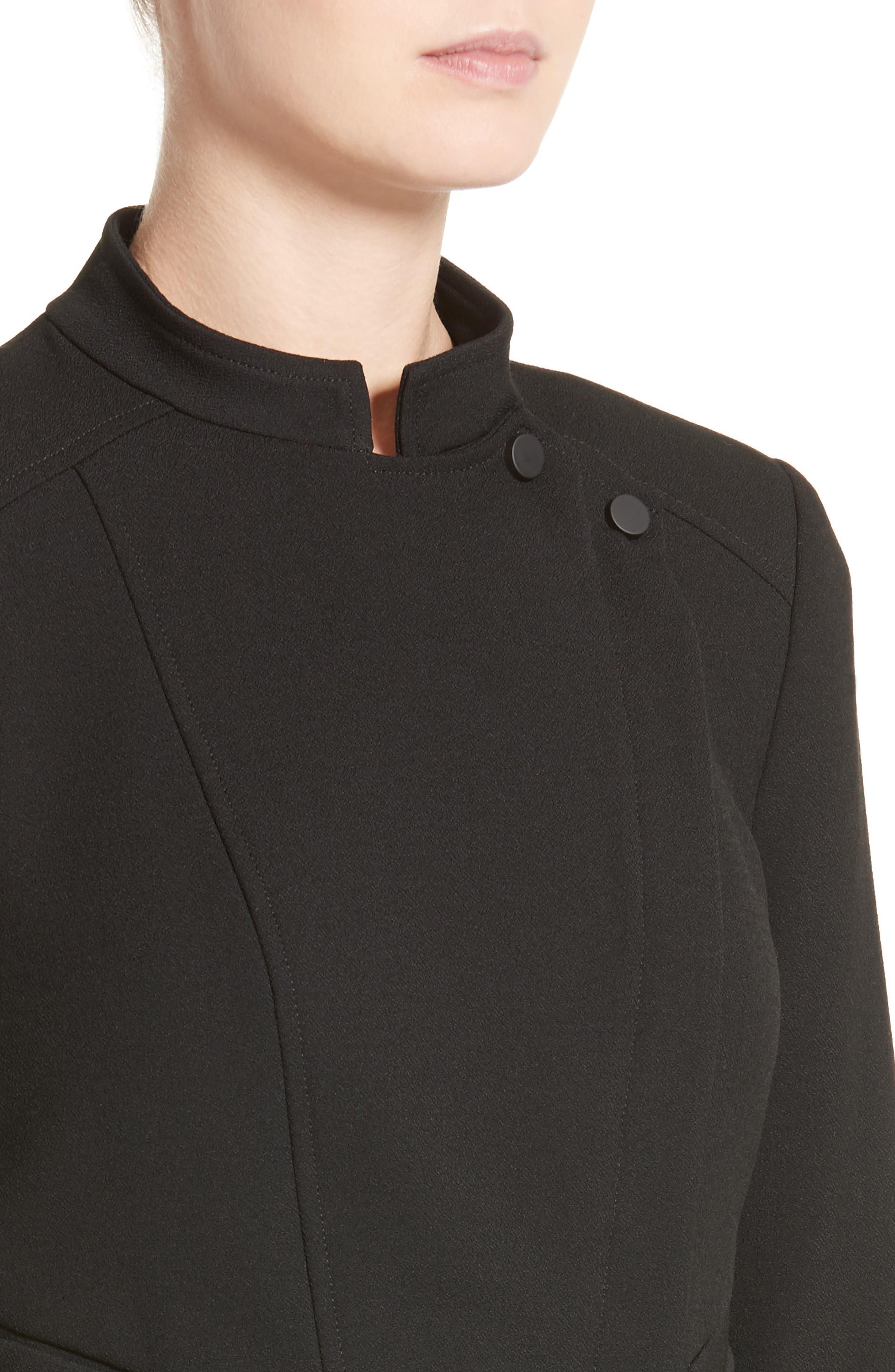 Armani Jeans Crepe Moto Jacket,                             Alternate thumbnail 6, color,                             Black