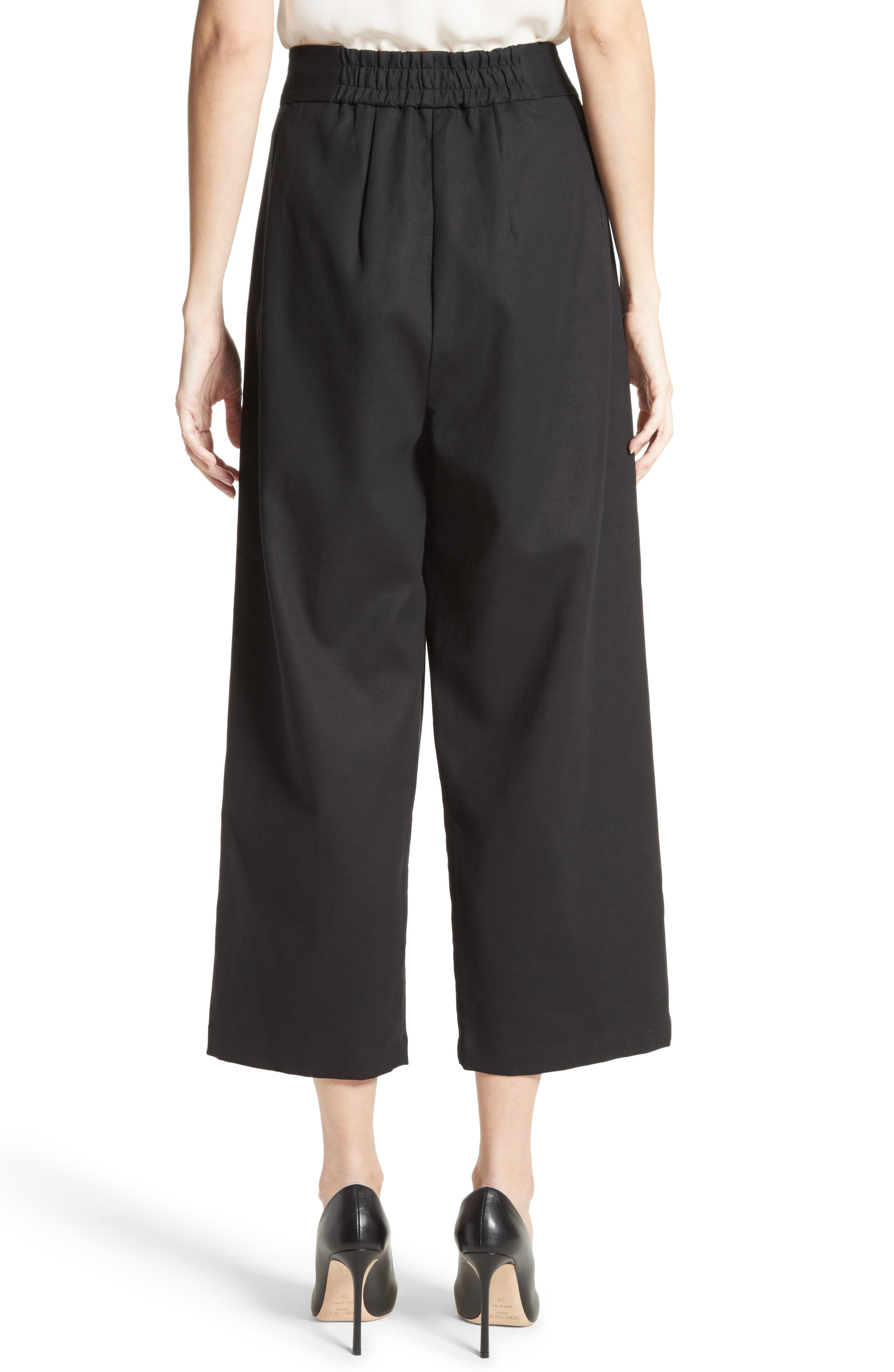Gabardine Wrap Front Crop Pants,                             Alternate thumbnail 2, color,                             Black