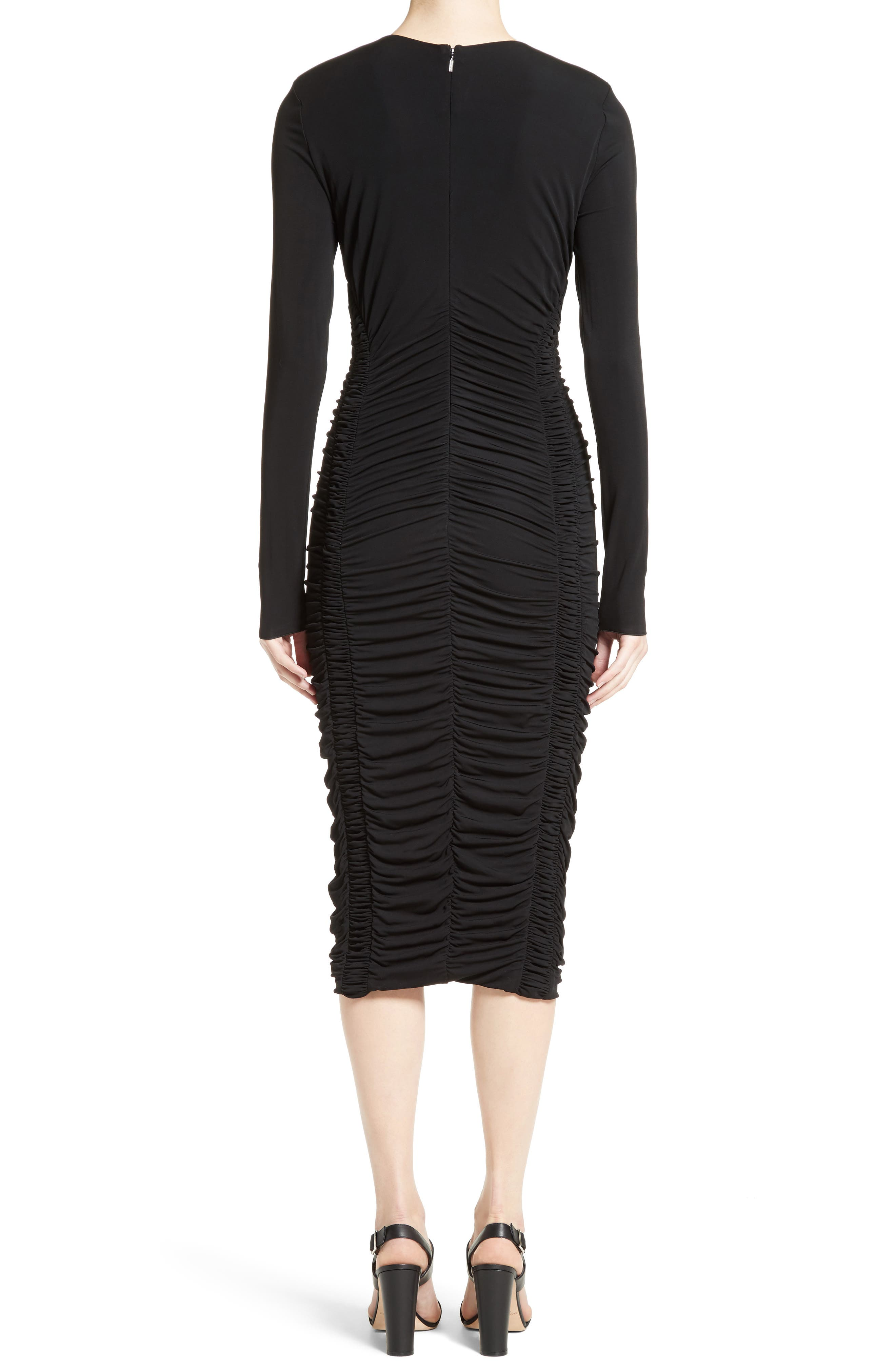 Ruched Stretch Jersey Dress,                             Alternate thumbnail 2, color,                             Black