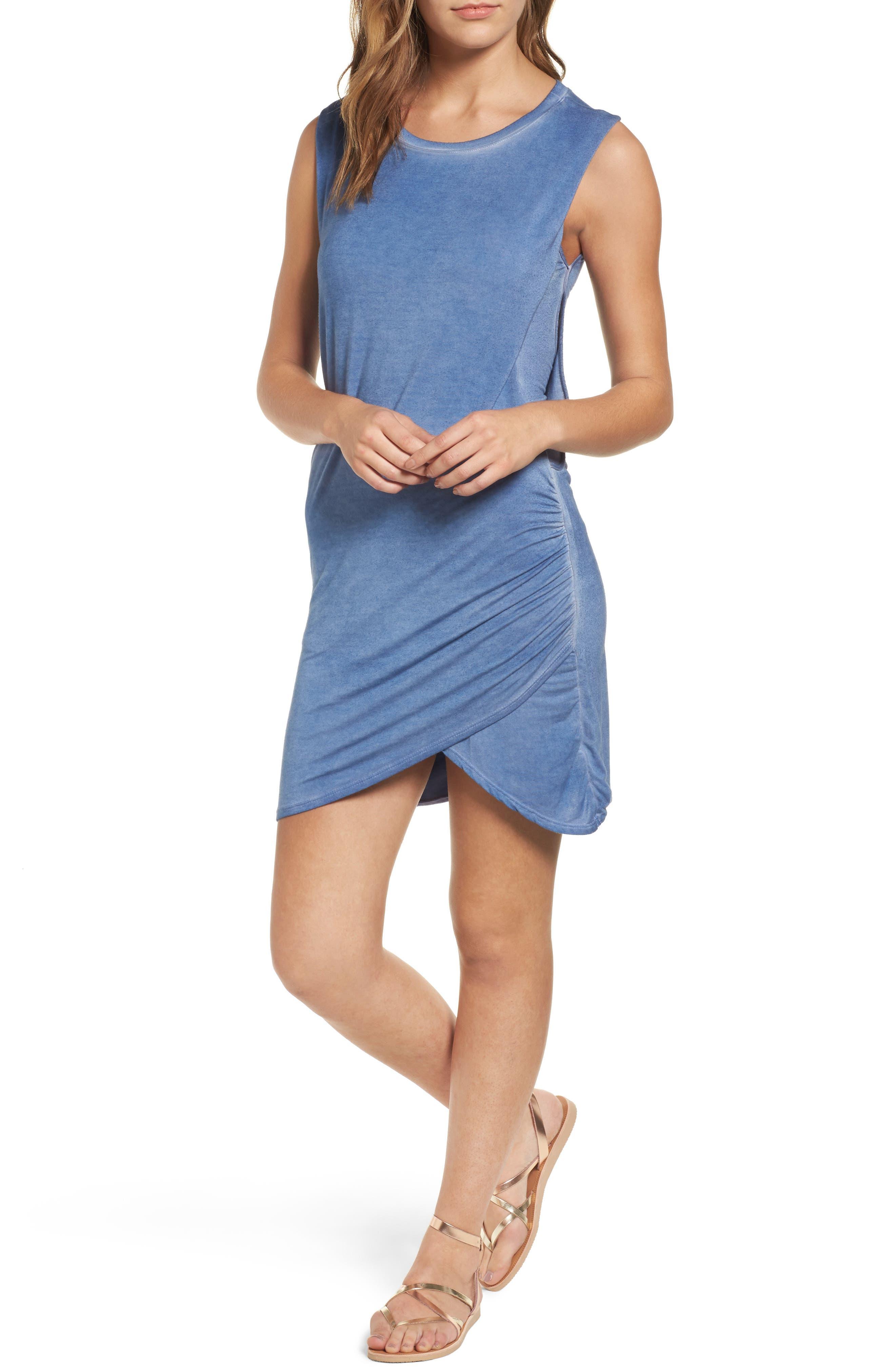Overlap Minidress,                         Main,                         color, Chambray