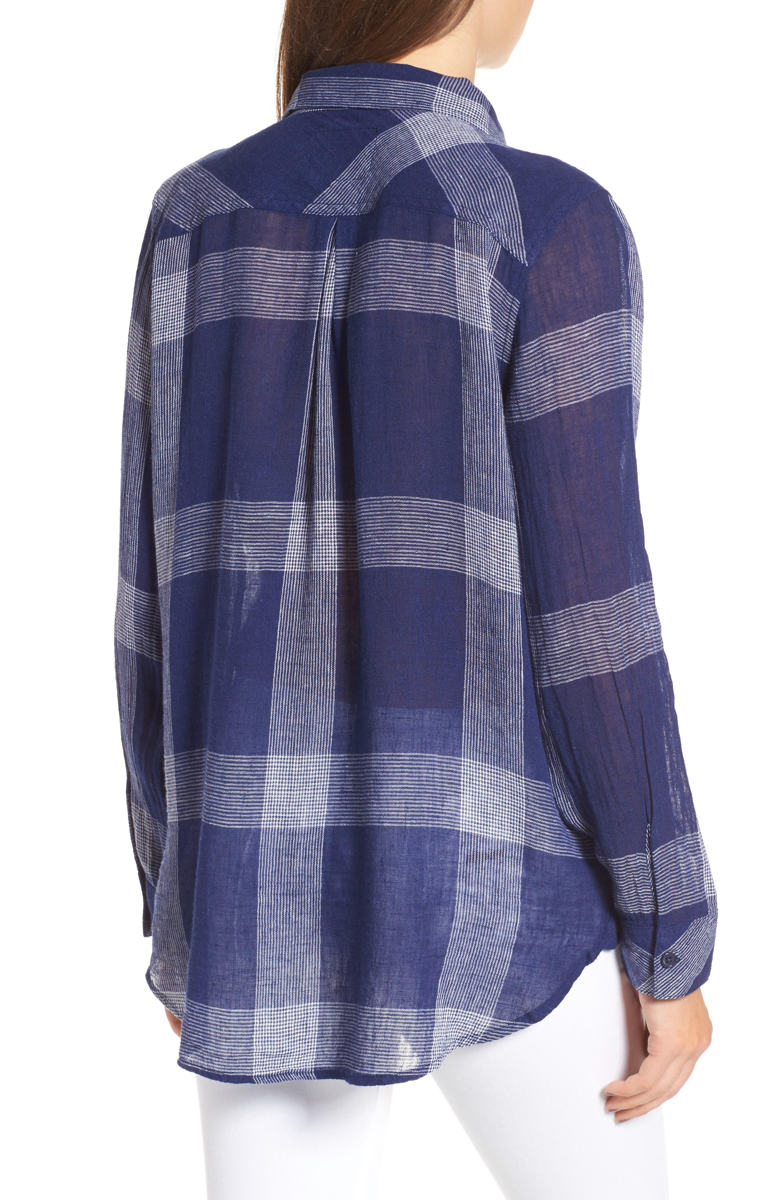 Charli Plaid Shirt,                             Alternate thumbnail 2, color,                             Patriot/ White