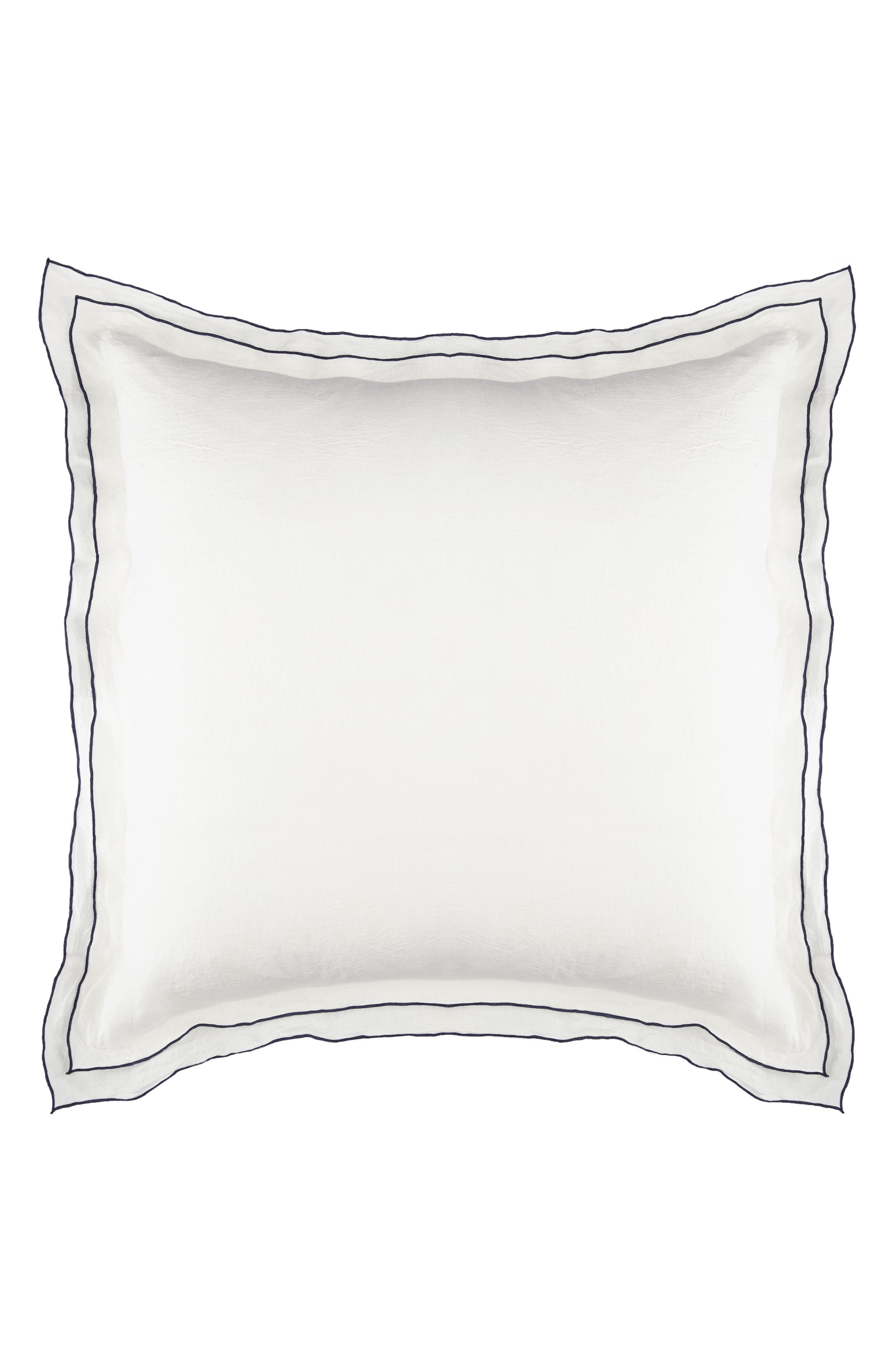Biarritz Linen Euro Sham,                             Main thumbnail 1, color,                             White/ Indigo