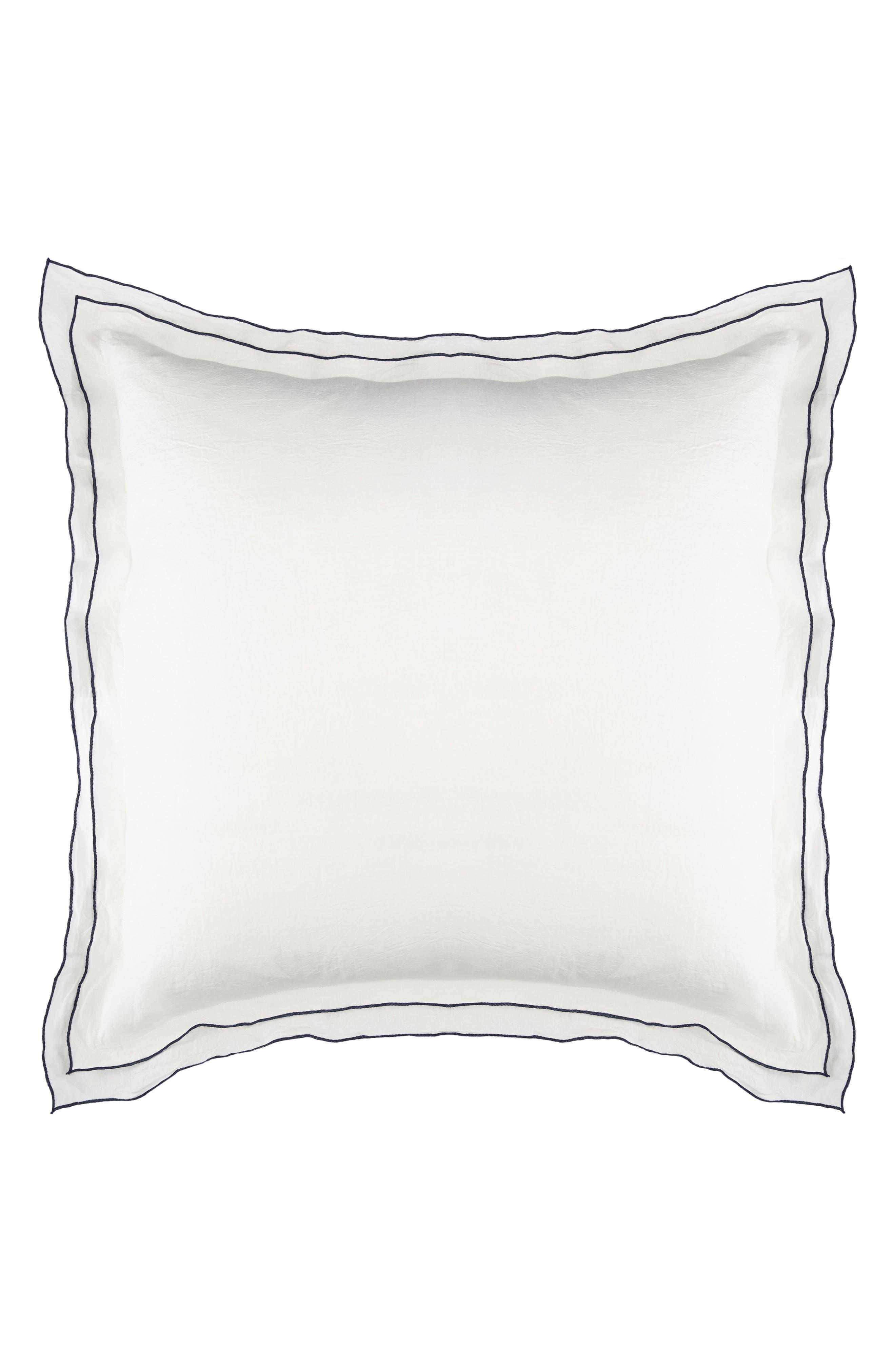 Biarritz Linen Euro Sham,                         Main,                         color, White/ Indigo