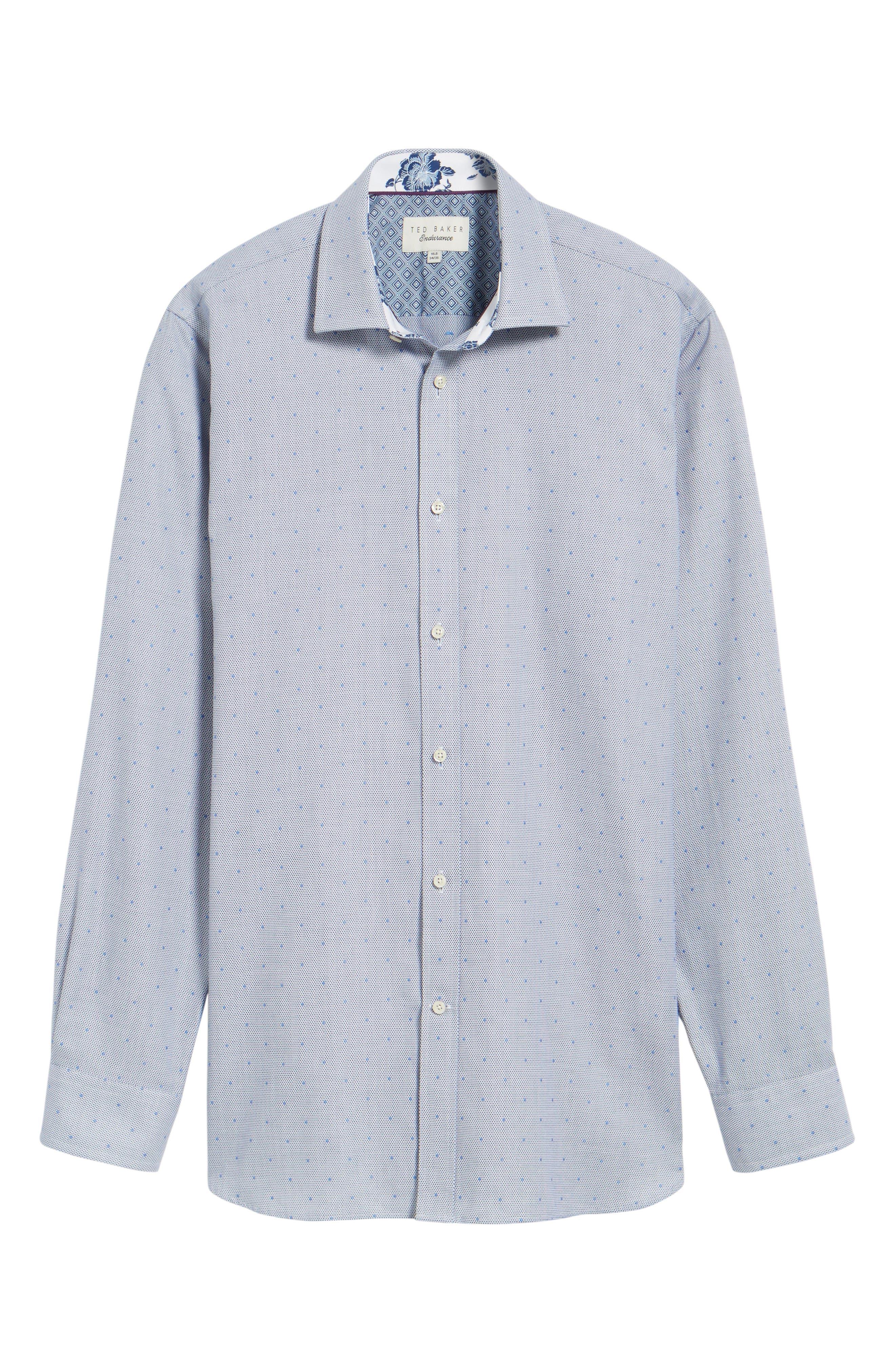 Alternate Image 5  - Ted Baker London Trim Fit Dot Dress Shirt