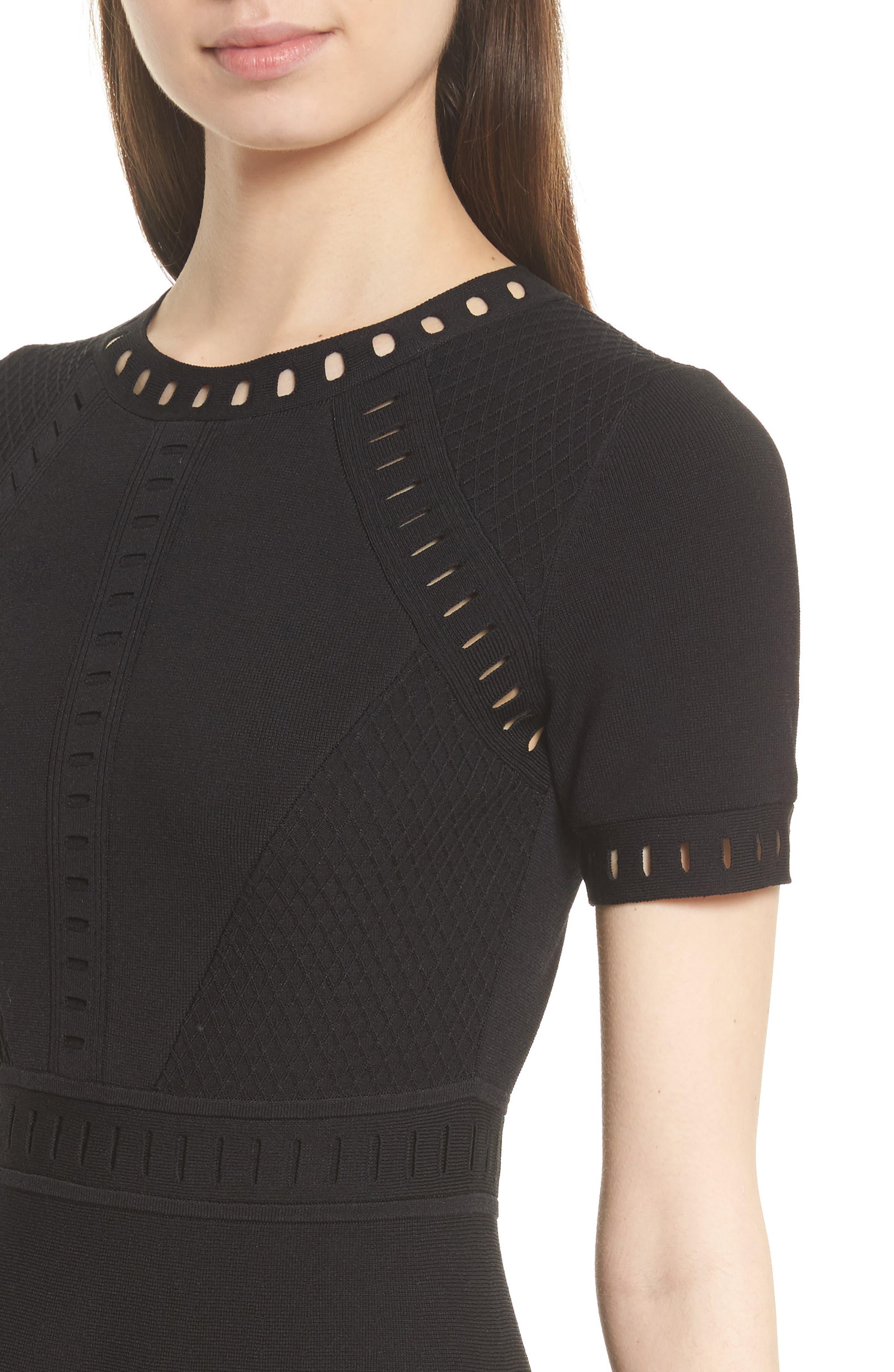 Texture Knit Fit & Flare Dress,                             Alternate thumbnail 4, color,                             Black