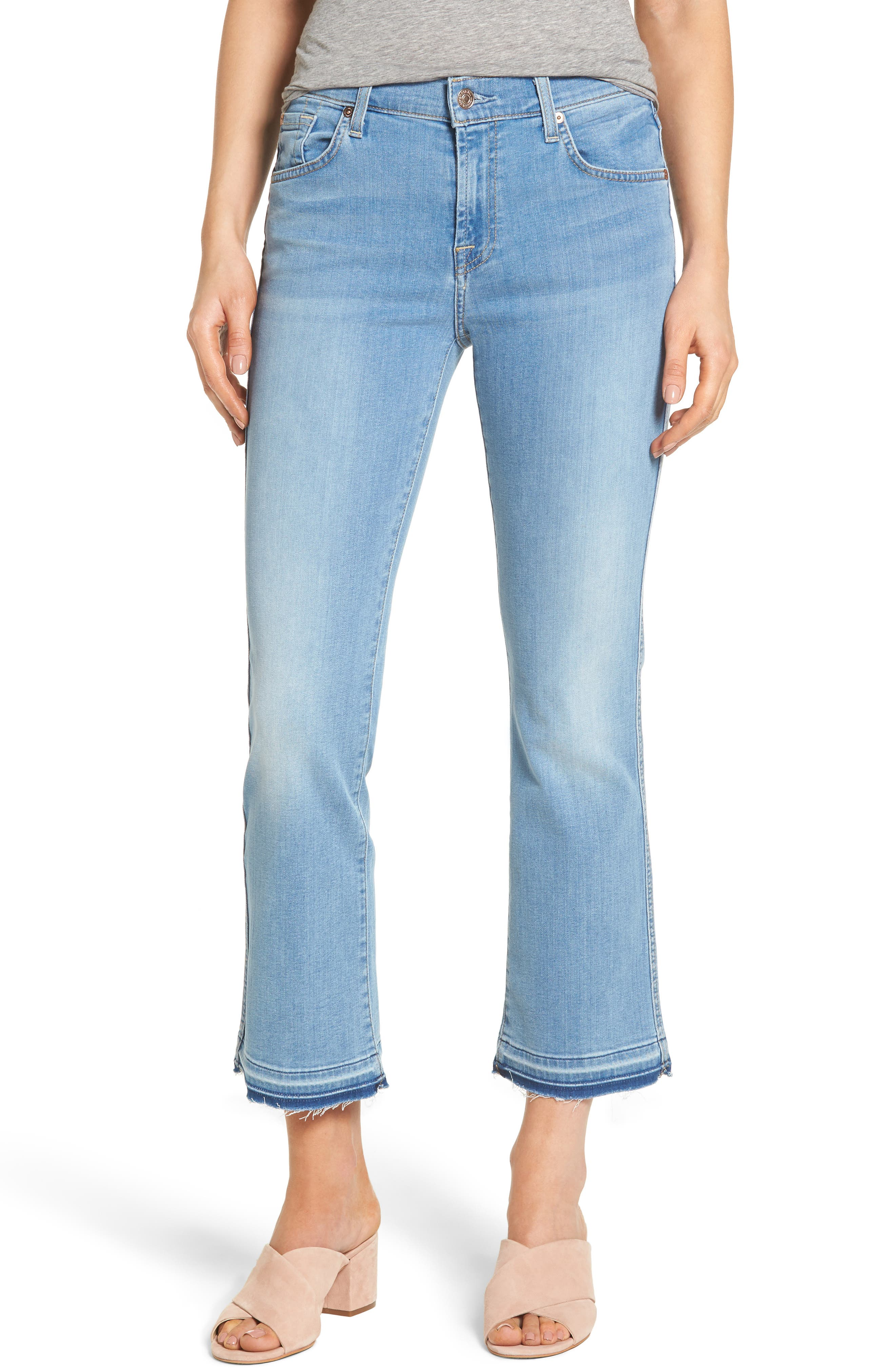 Alternate Image 1 Selected - 7 For All Mankind® b(air) Released Hem Crop Bootcut Jeans (Bair Sunfaded 2)