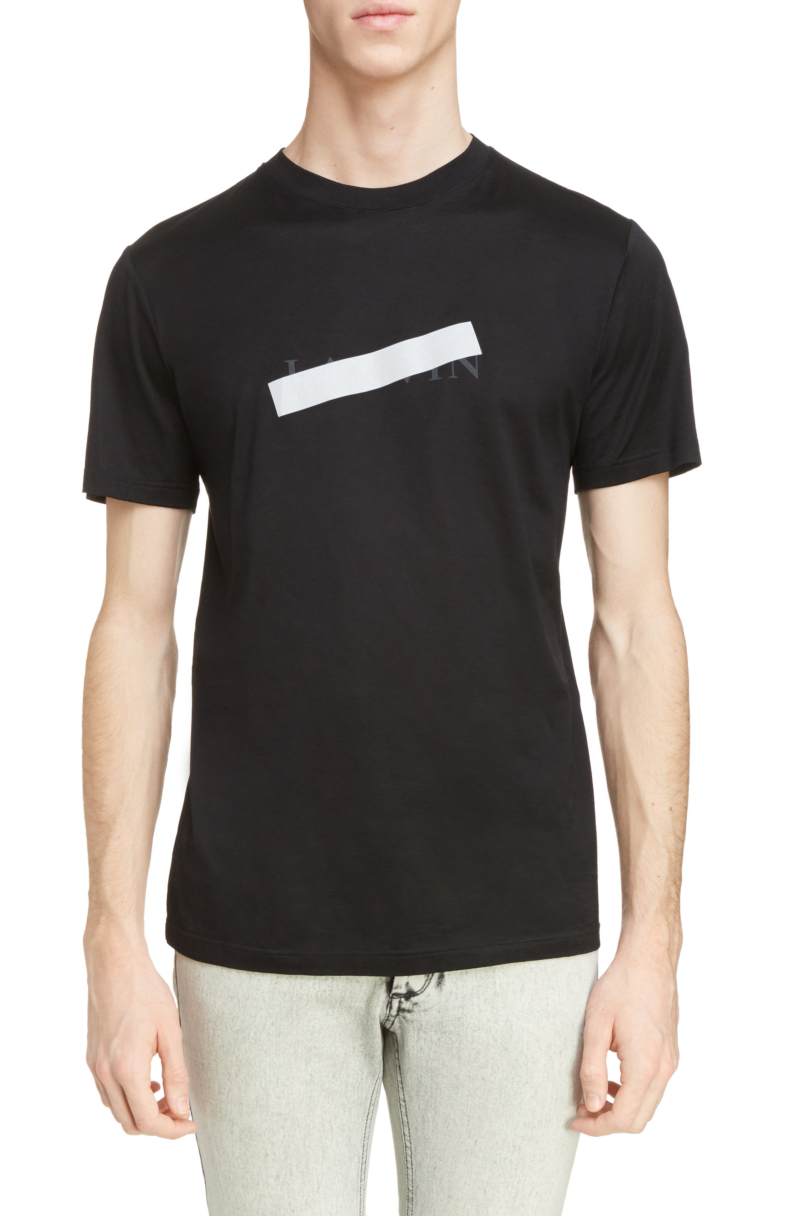 Reflective Tape Logo T-Shirt,                         Main,                         color, Black
