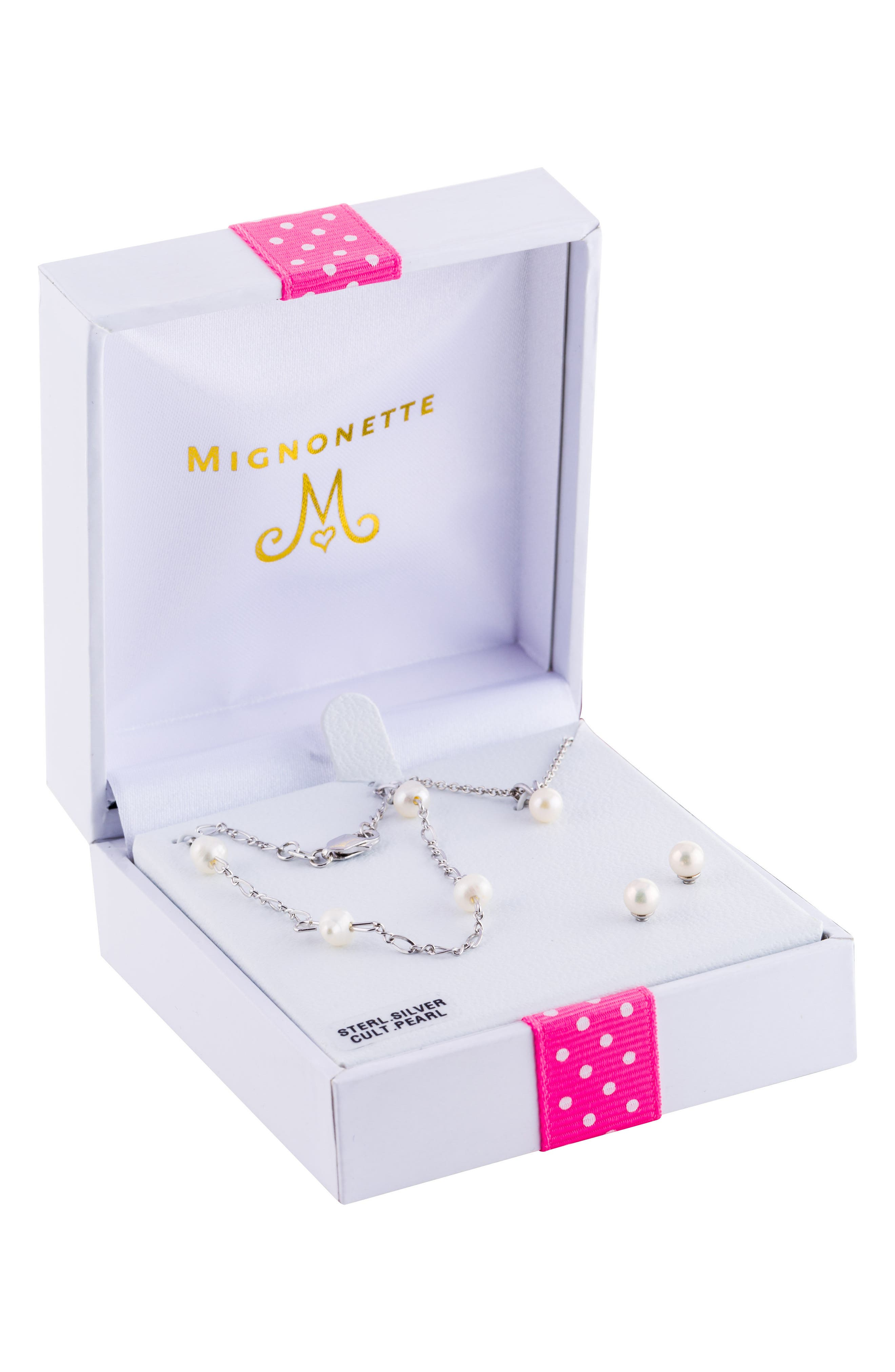 Alternate Image 2  - Mignonette Sterling Silver & Cultured Pearl Necklace, Bracelet & Earrings Set (Girls)