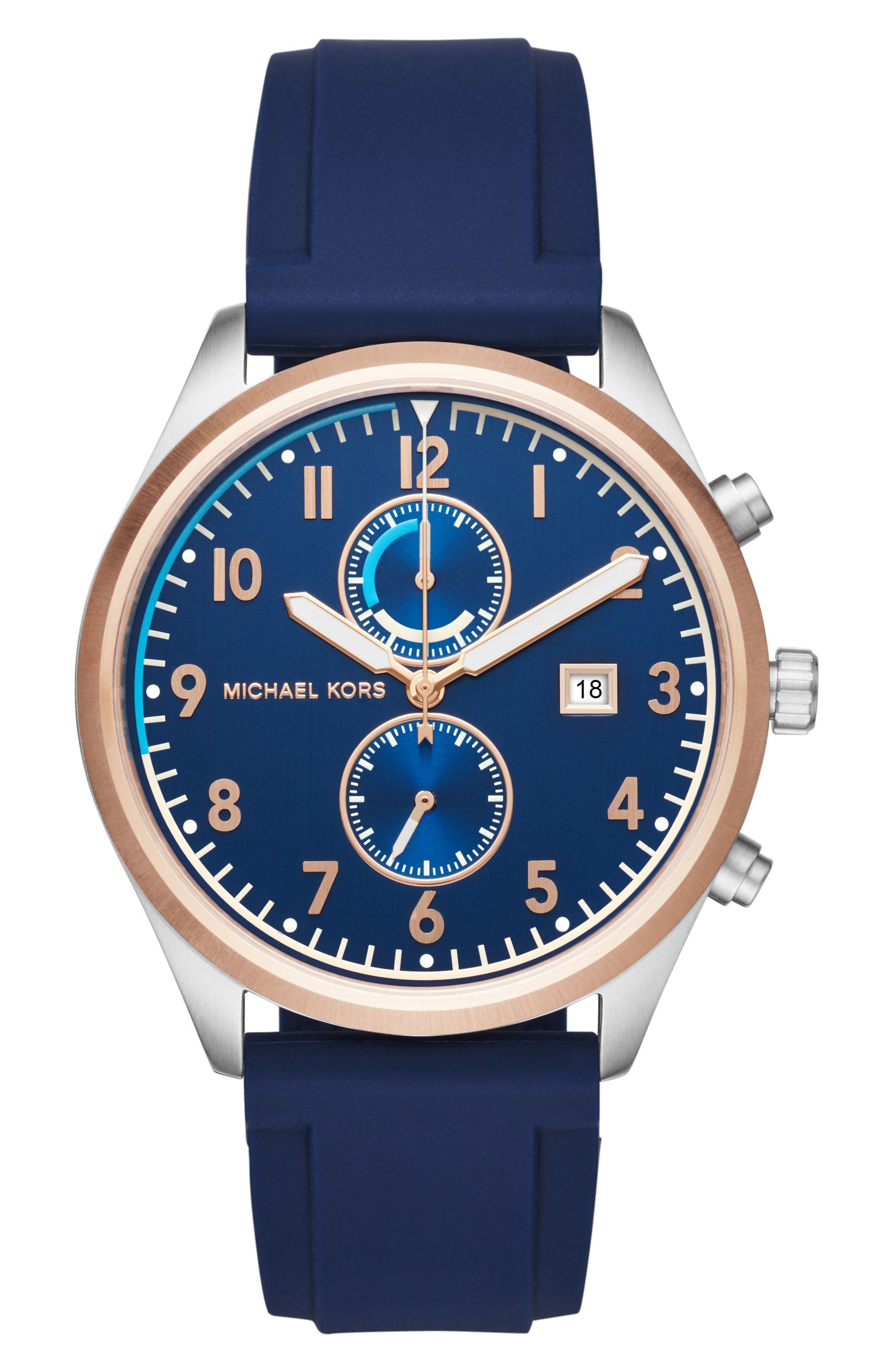 Michael Kors Saunder Silicone Strap Watch, 43mm
