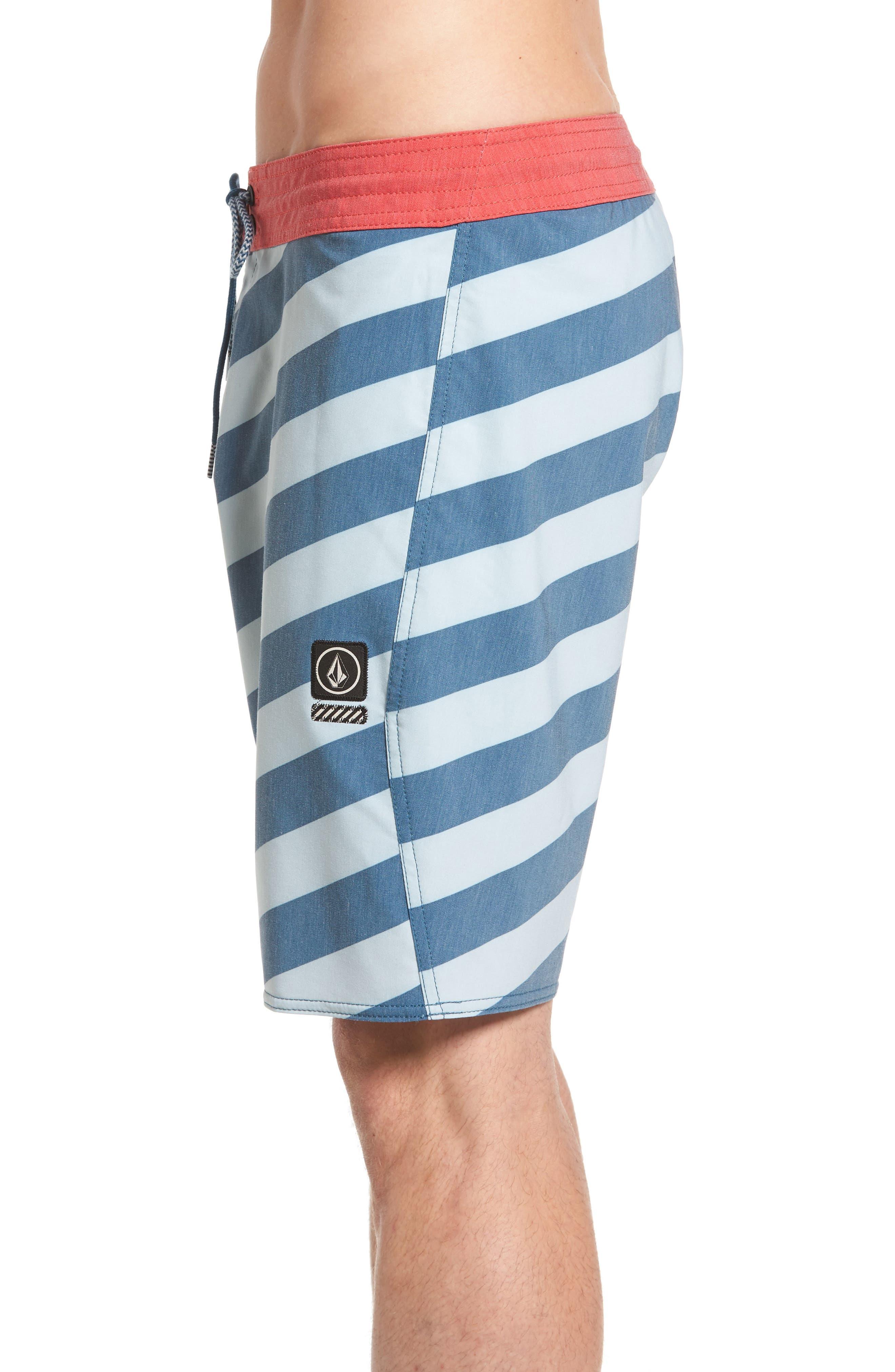 Stripey Slinger Board Shorts,                             Alternate thumbnail 3, color,                             Flight Blue