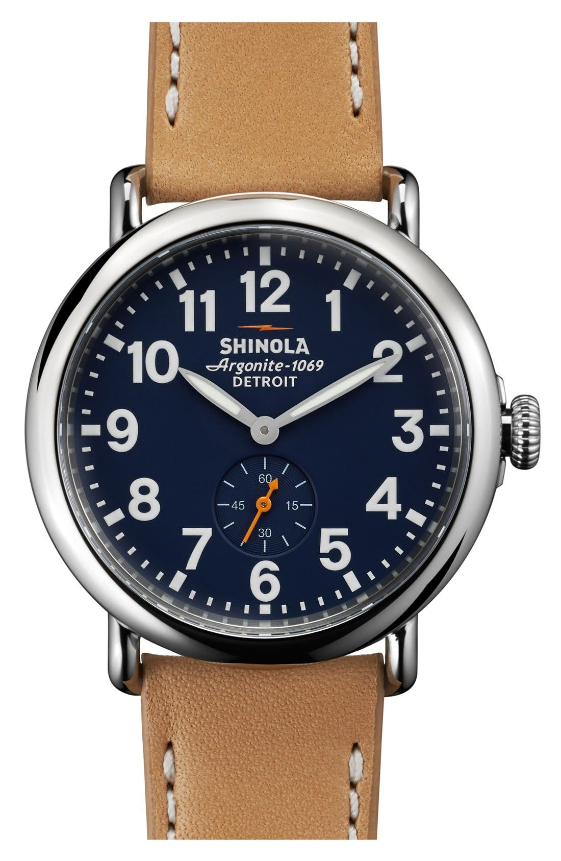 'The Runwell' Leather Strap Watch, 41mm,                         Main,                         color, Midnight Blue/ Natural