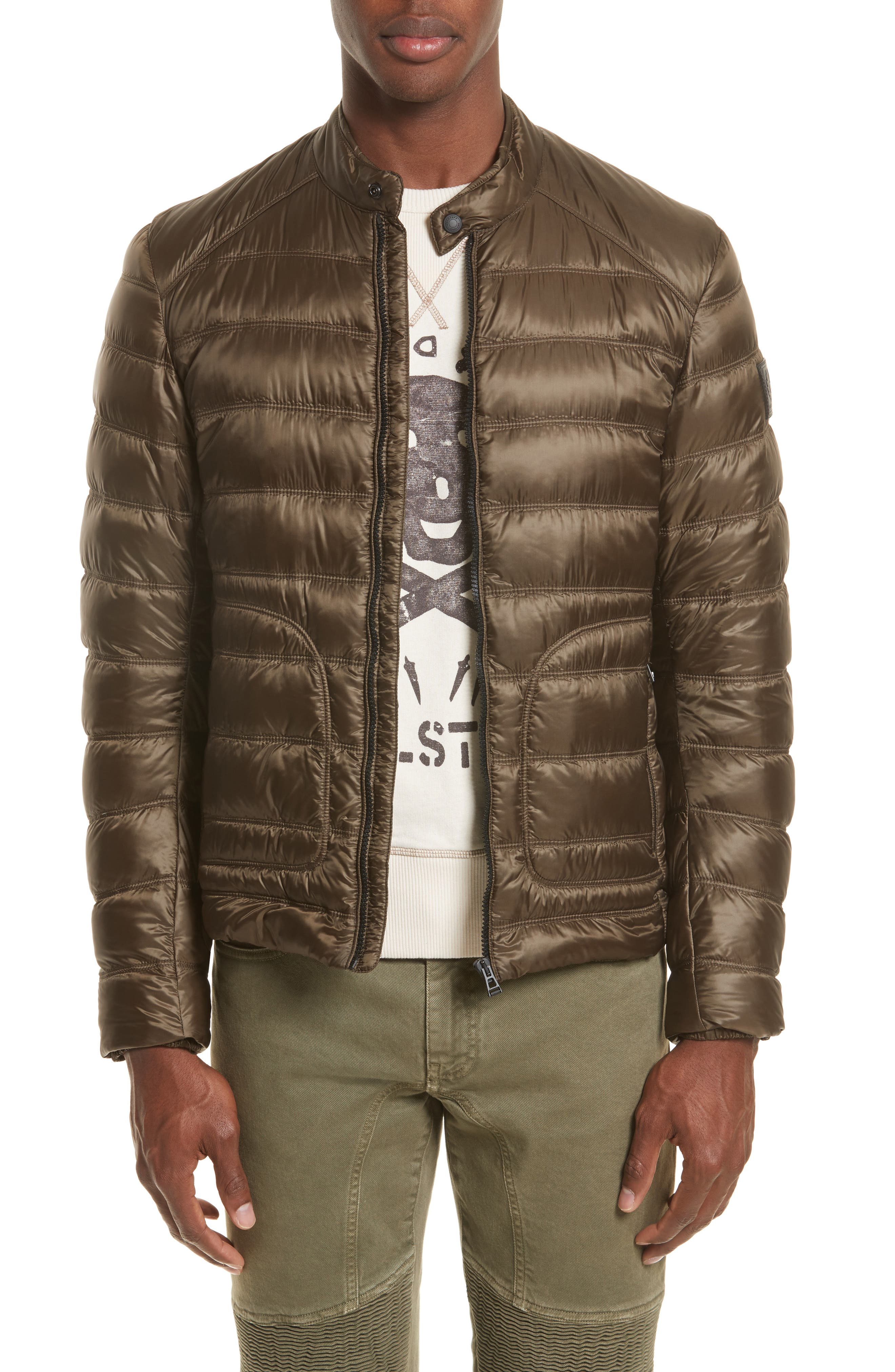 Halewood Quilted Down Jacket,                             Main thumbnail 1, color,                             Dark Moss Green