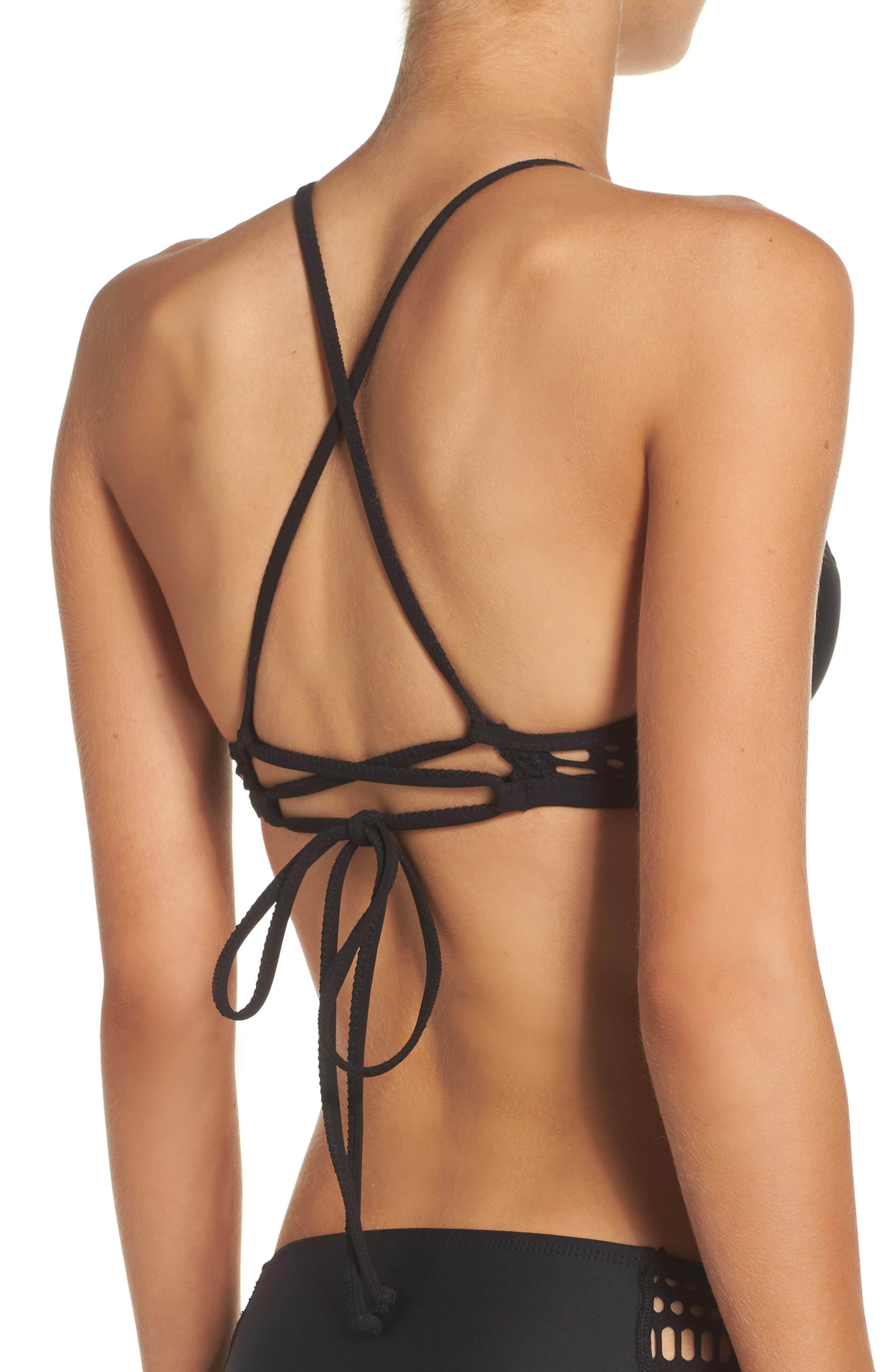 Cameron Halter Bikini Top,                             Alternate thumbnail 2, color,                             Black
