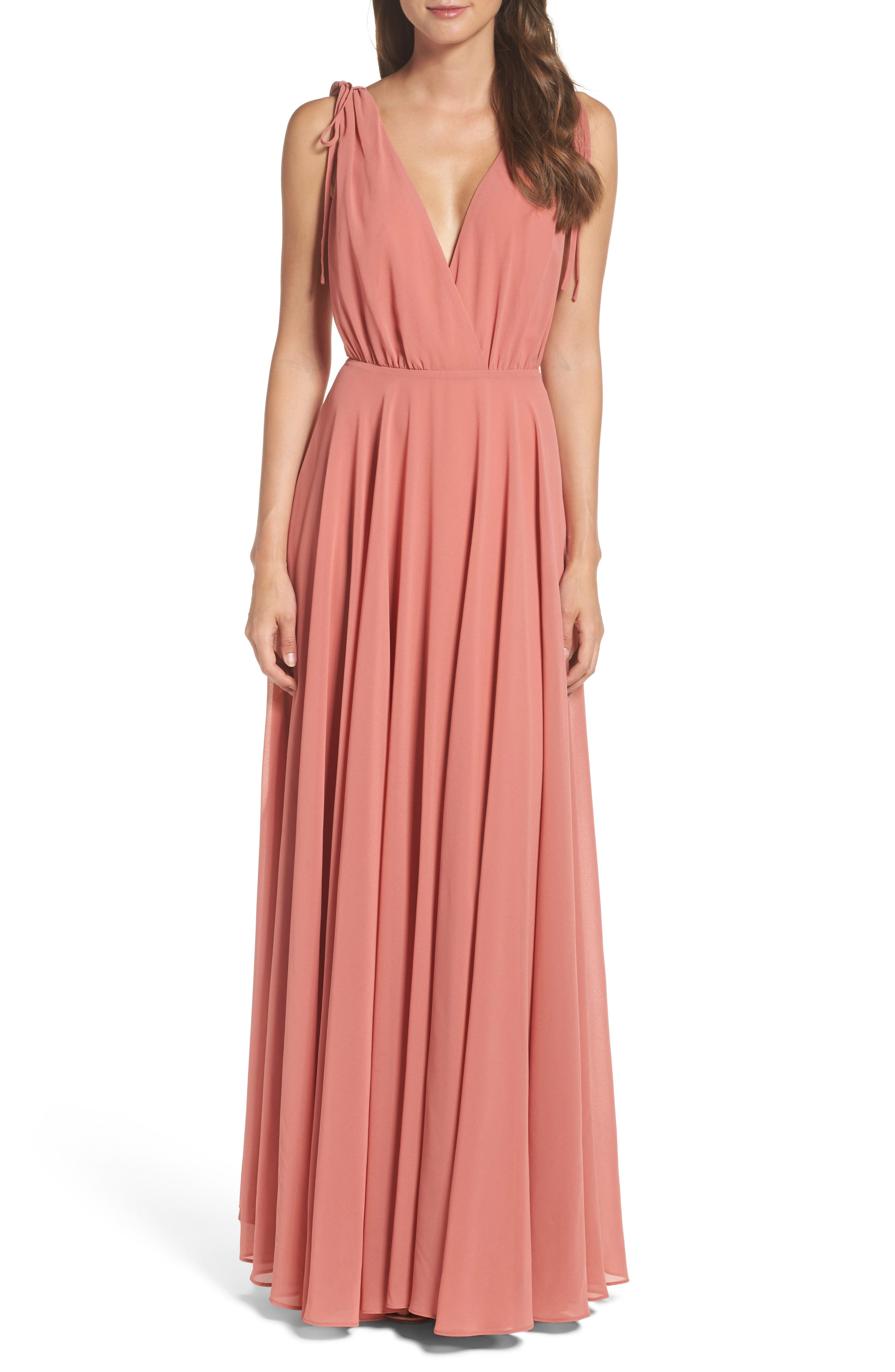 V-Neck Chiffon Gown,                         Main,                         color, Rusty Rose