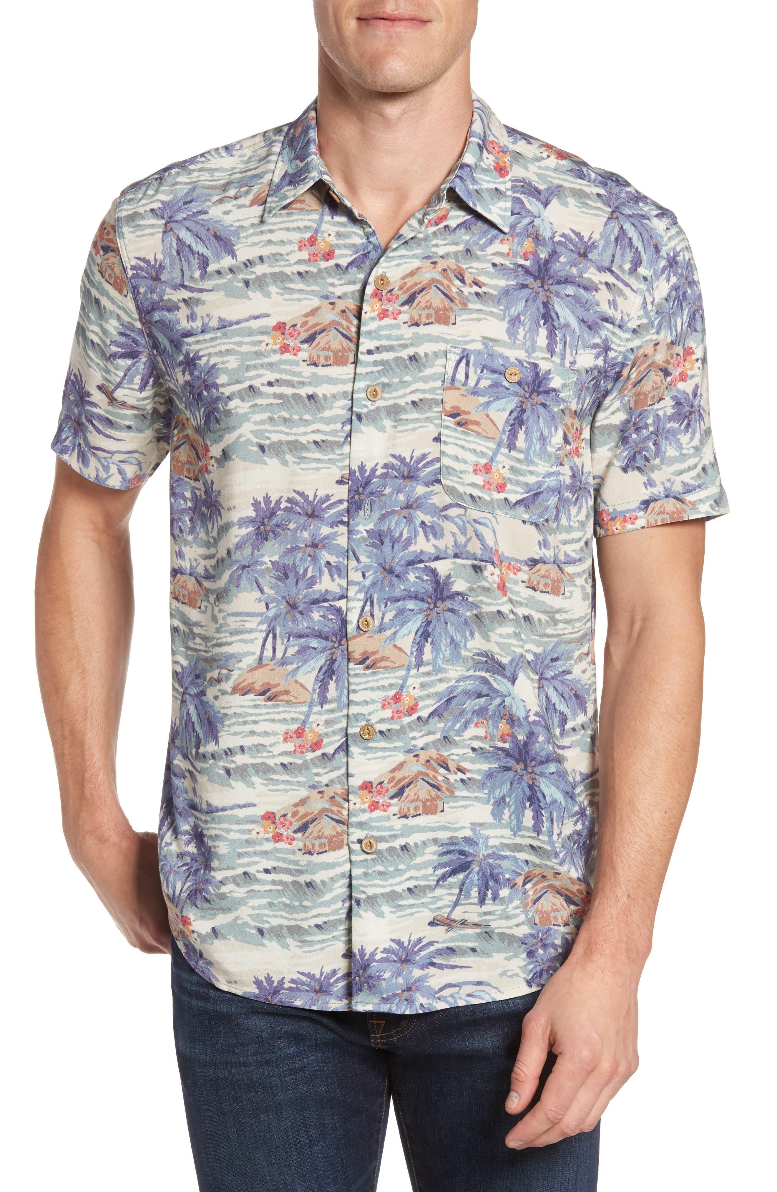 Hawaiian Print Rayon Shirt,                             Main thumbnail 1, color,                             Tahitian Dreams