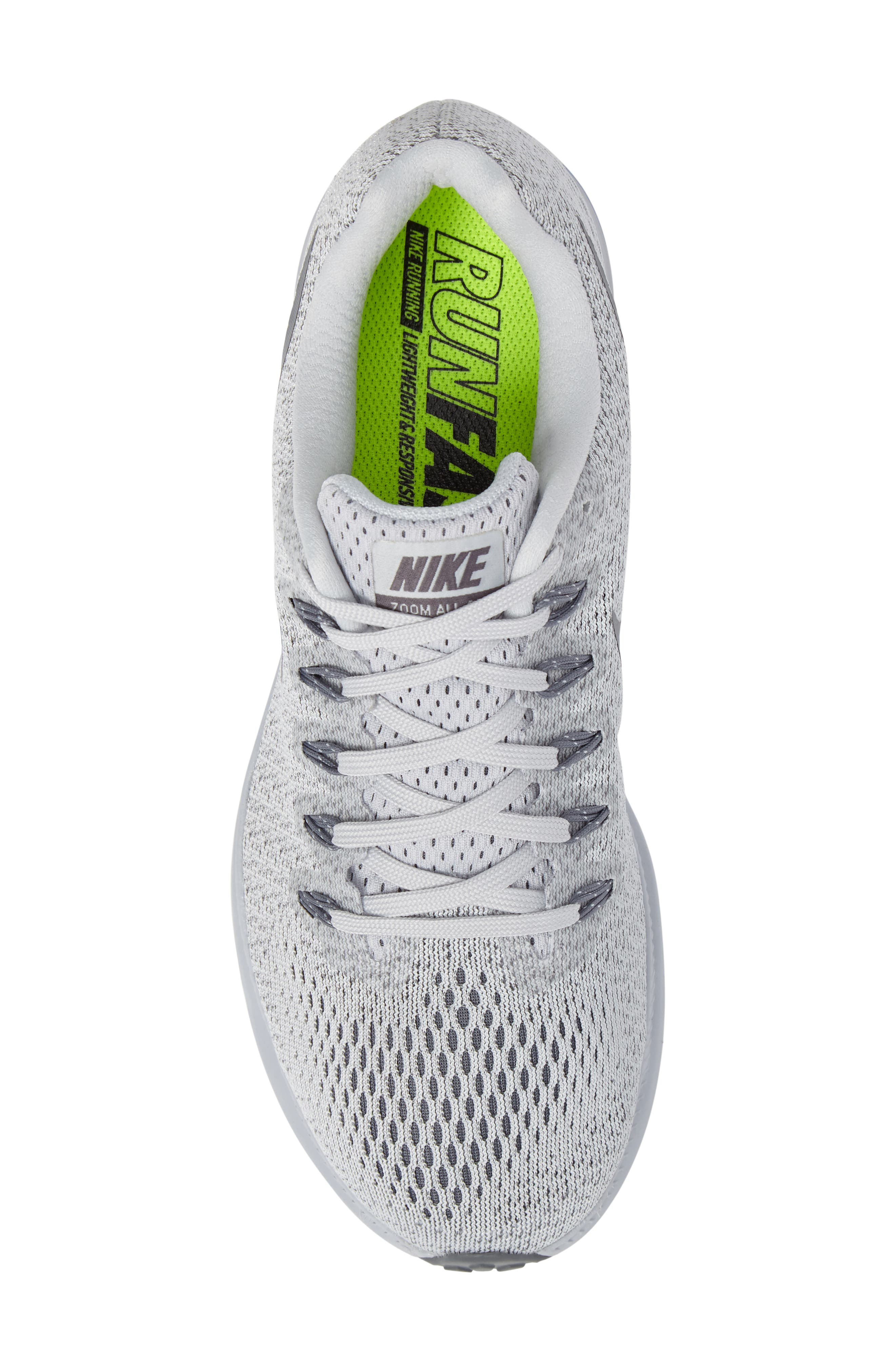 Air Zoom All Out Running Shoe,                             Alternate thumbnail 5, color,                             Platinum/ Cool Grey/ Wolf Grey