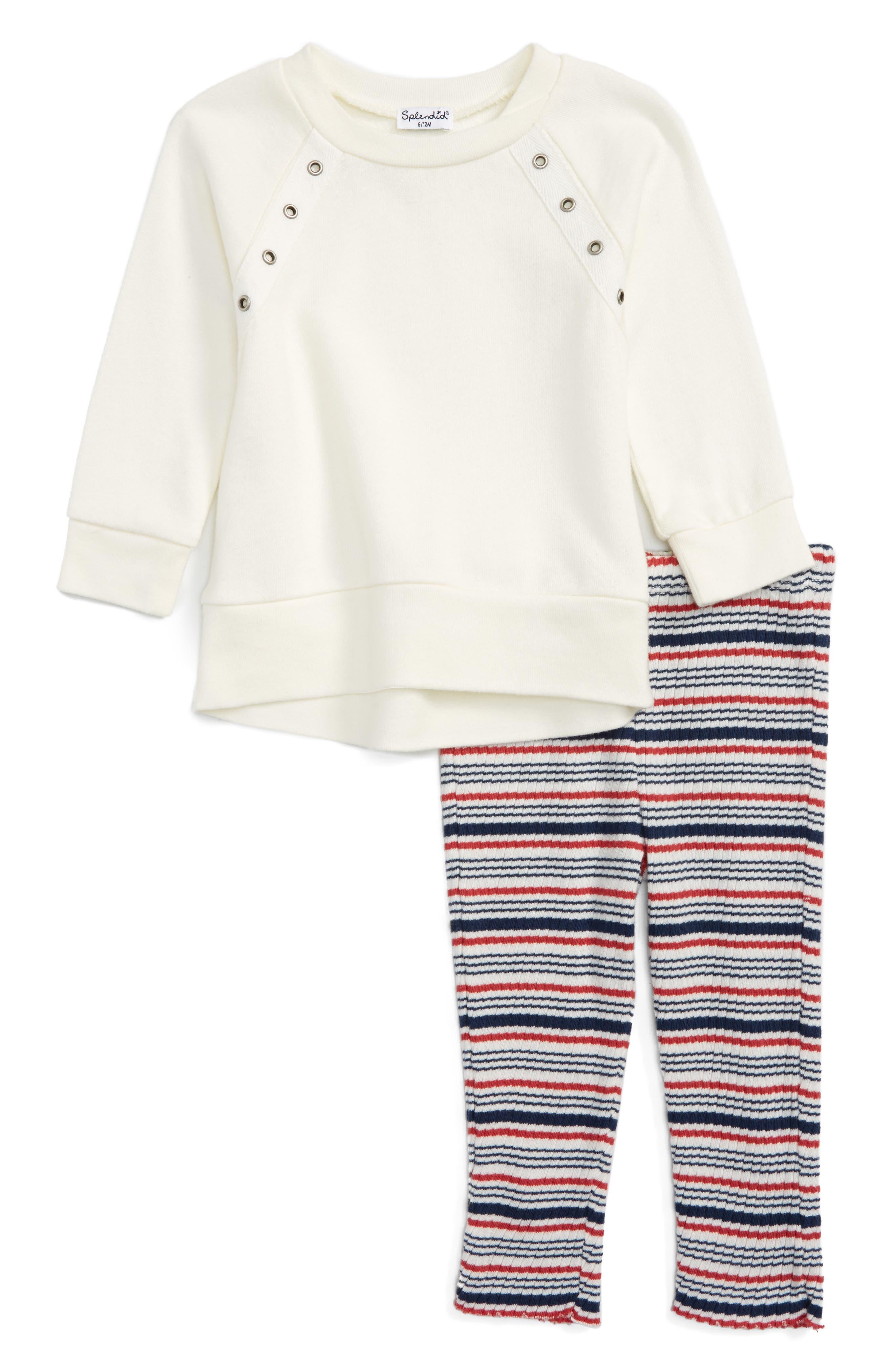 Splendid Sweatshirt & Stripe Leggings Set (Toddler Girls & Little Girls)