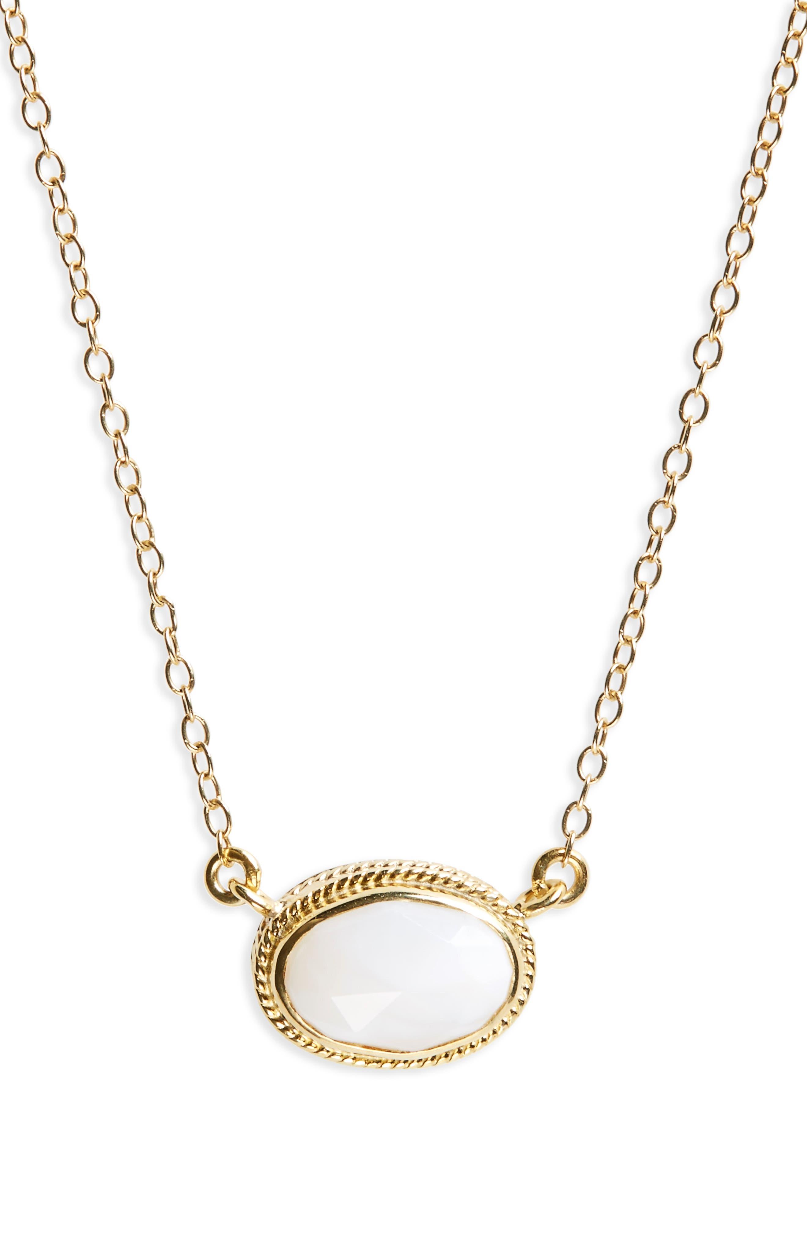 White Opal Pendant Necklace,                         Main,                         color, Gold/ Silver