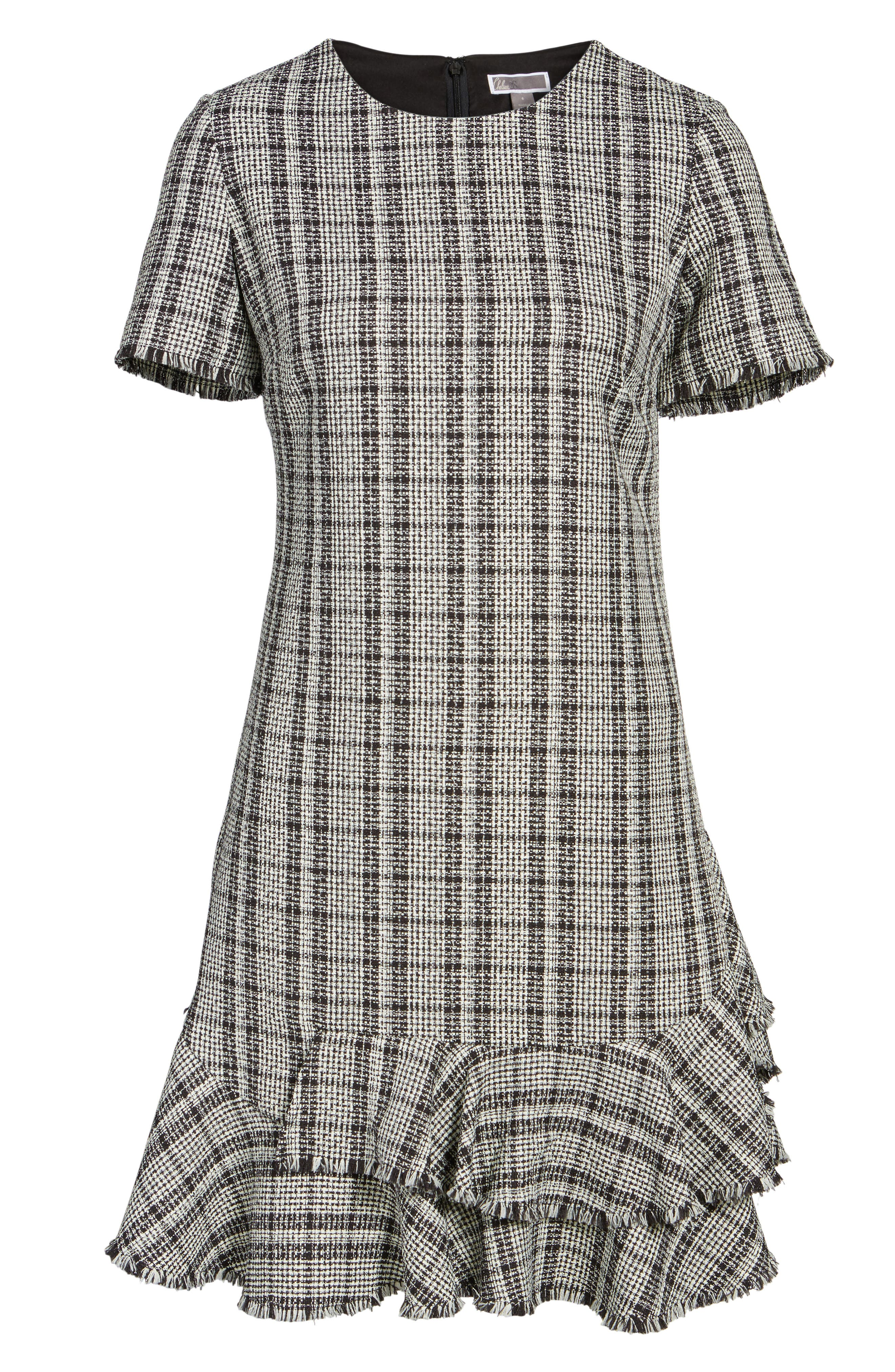 Tweed Ruffle Shift Dress,                             Alternate thumbnail 6, color,                             Black Ivory Combo