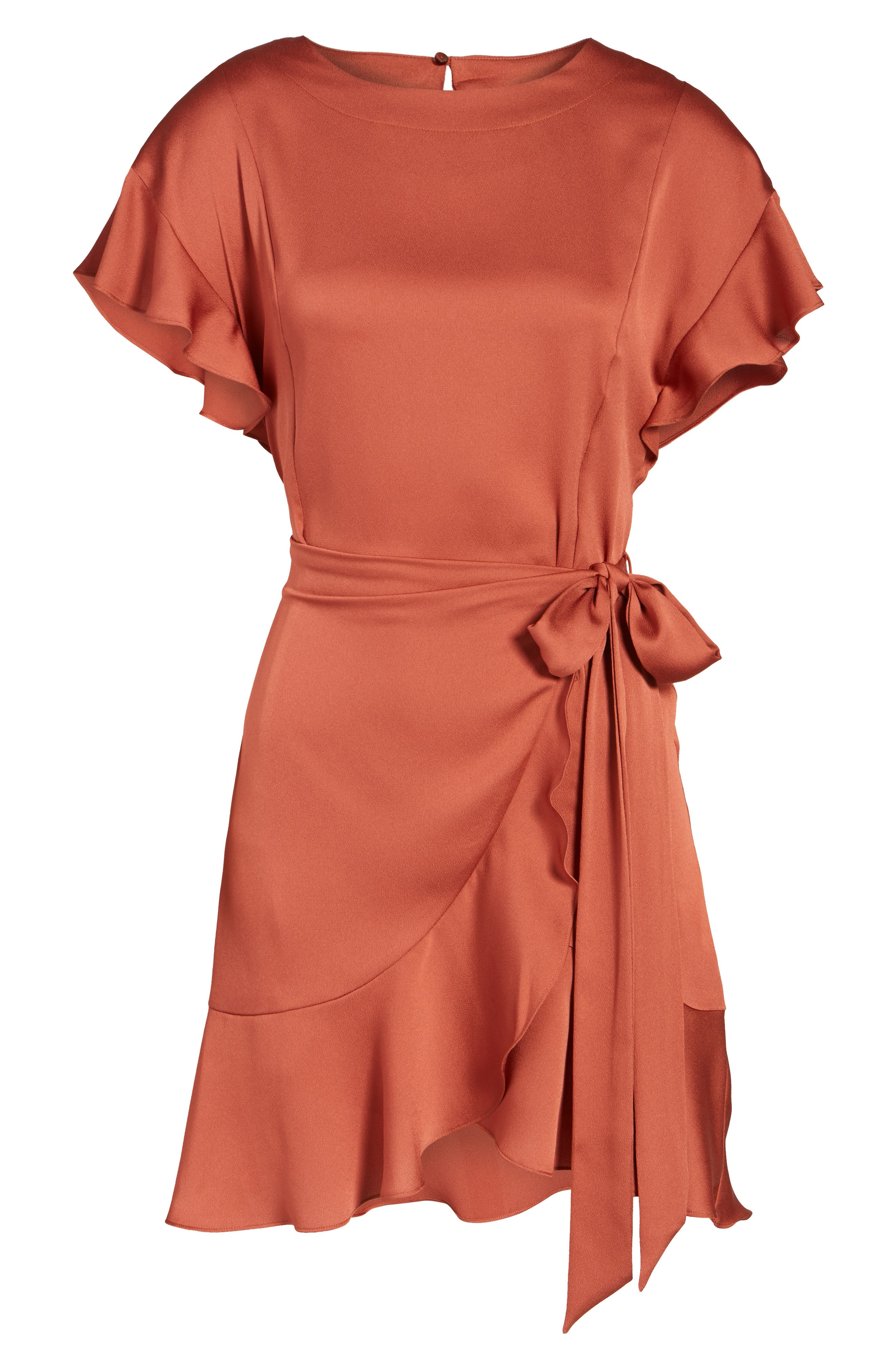 Ruffle Sleeve Satin Dress,                             Alternate thumbnail 6, color,                             Rust Marsala