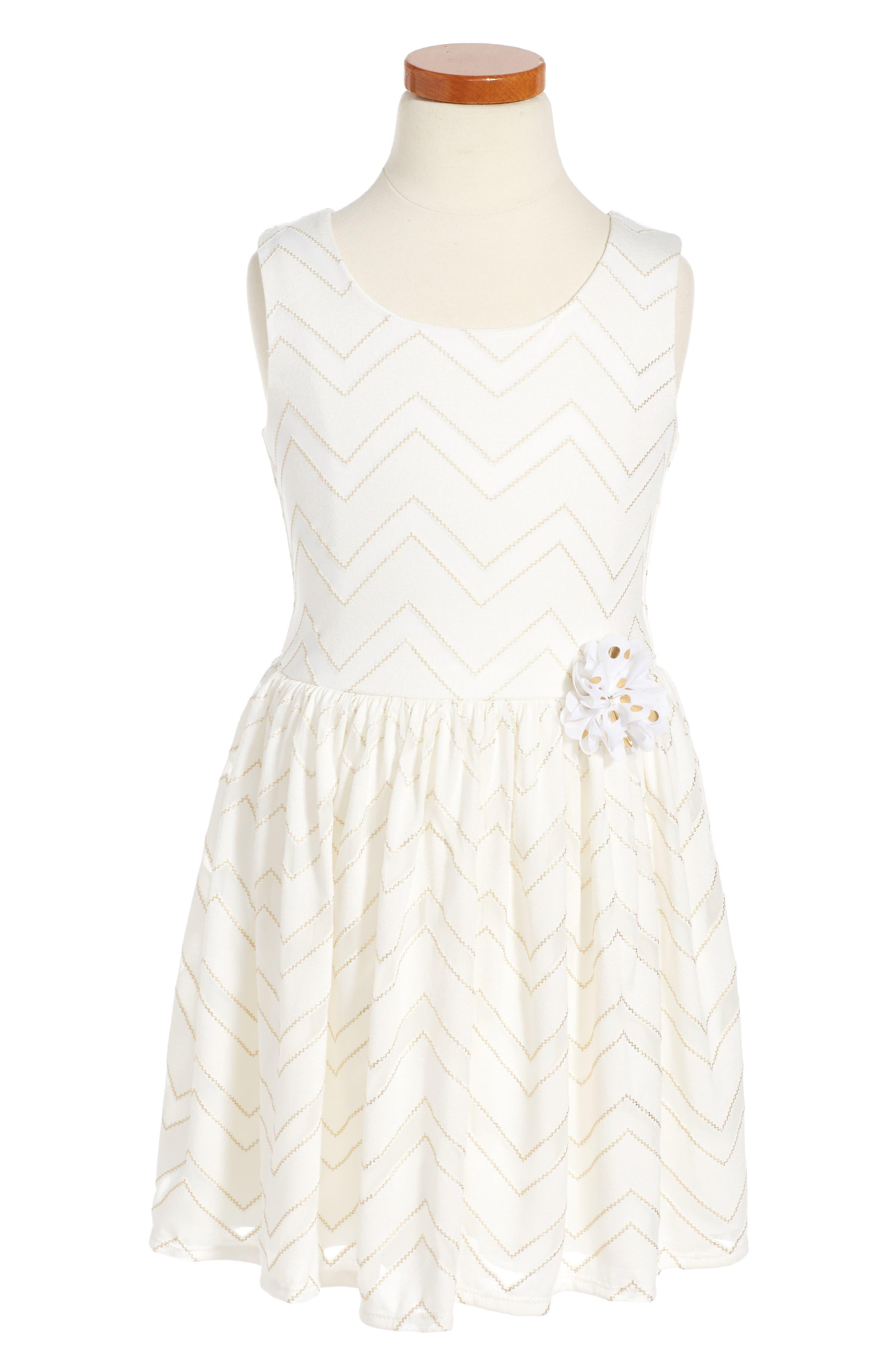 Pippa & Julie Metallic Chevron Dress (Toddler Girls & Little Girls)