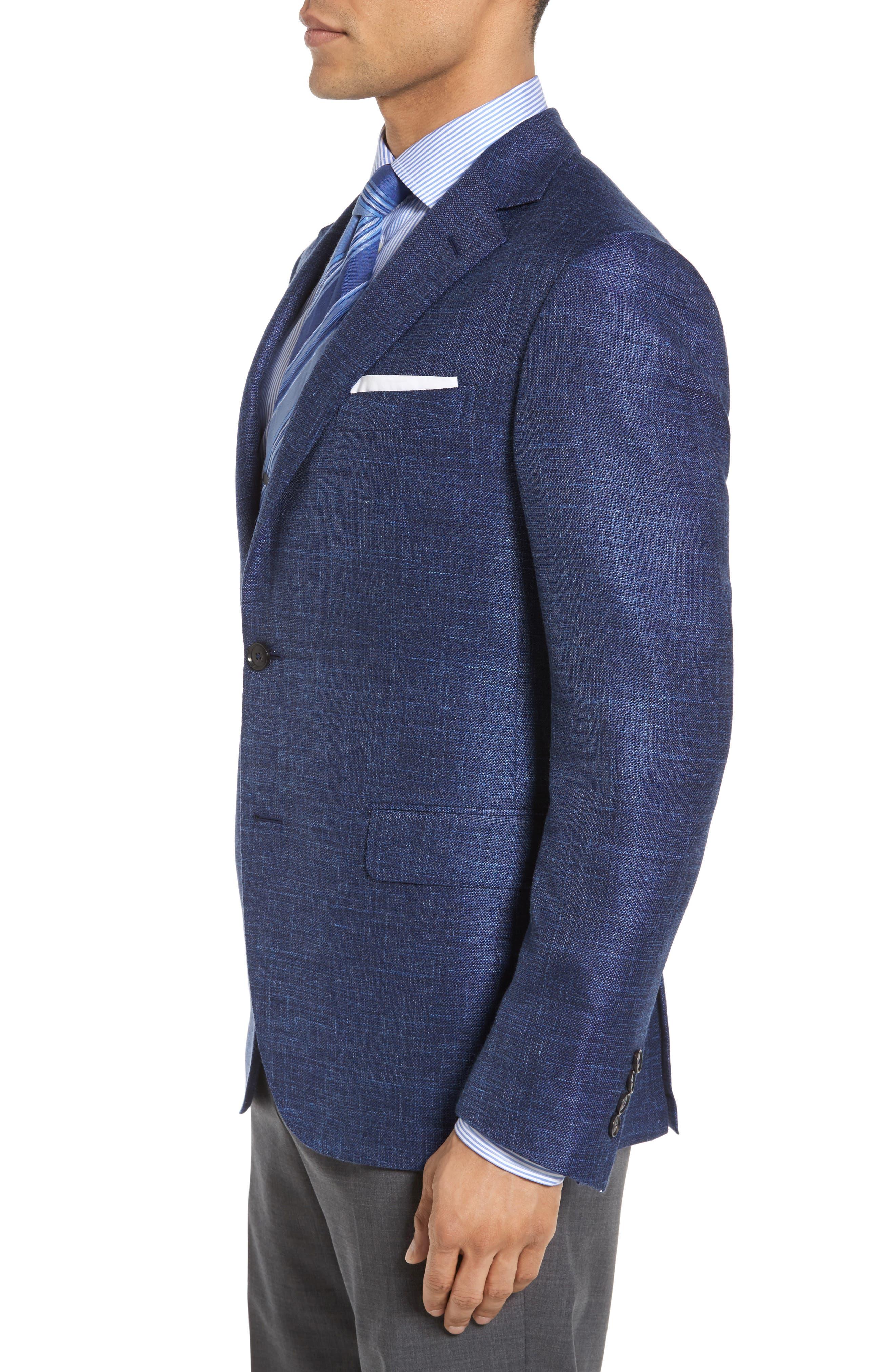 Plaid Wool Blend Blazer,                             Alternate thumbnail 3, color,                             Blue