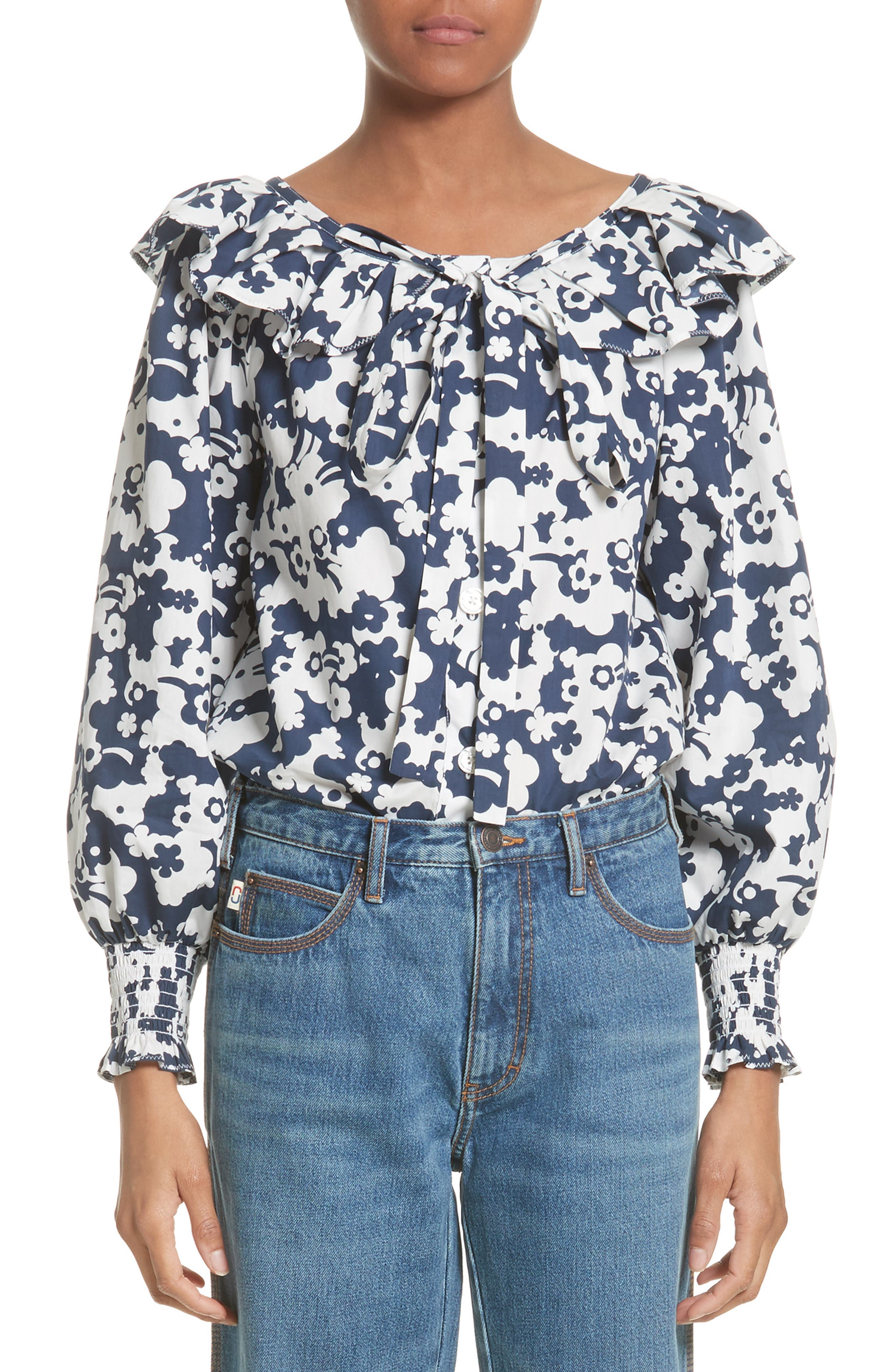 MARC JACOBS Ruffle Cotton Poplin Blouse (Nordstrom Exclusive)