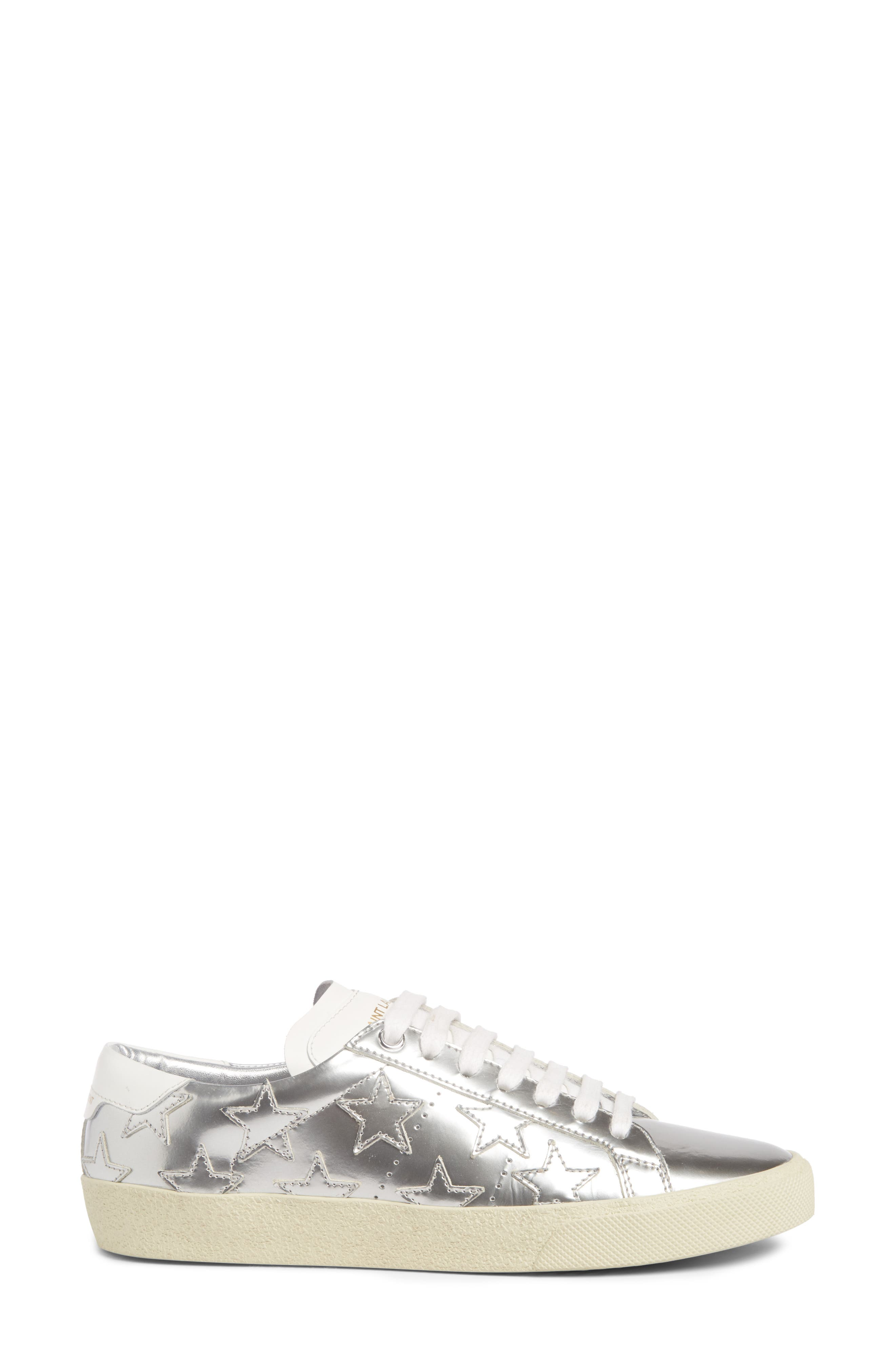Classic Court Stars Sneaker,                             Alternate thumbnail 4, color,                             Metallic Silver