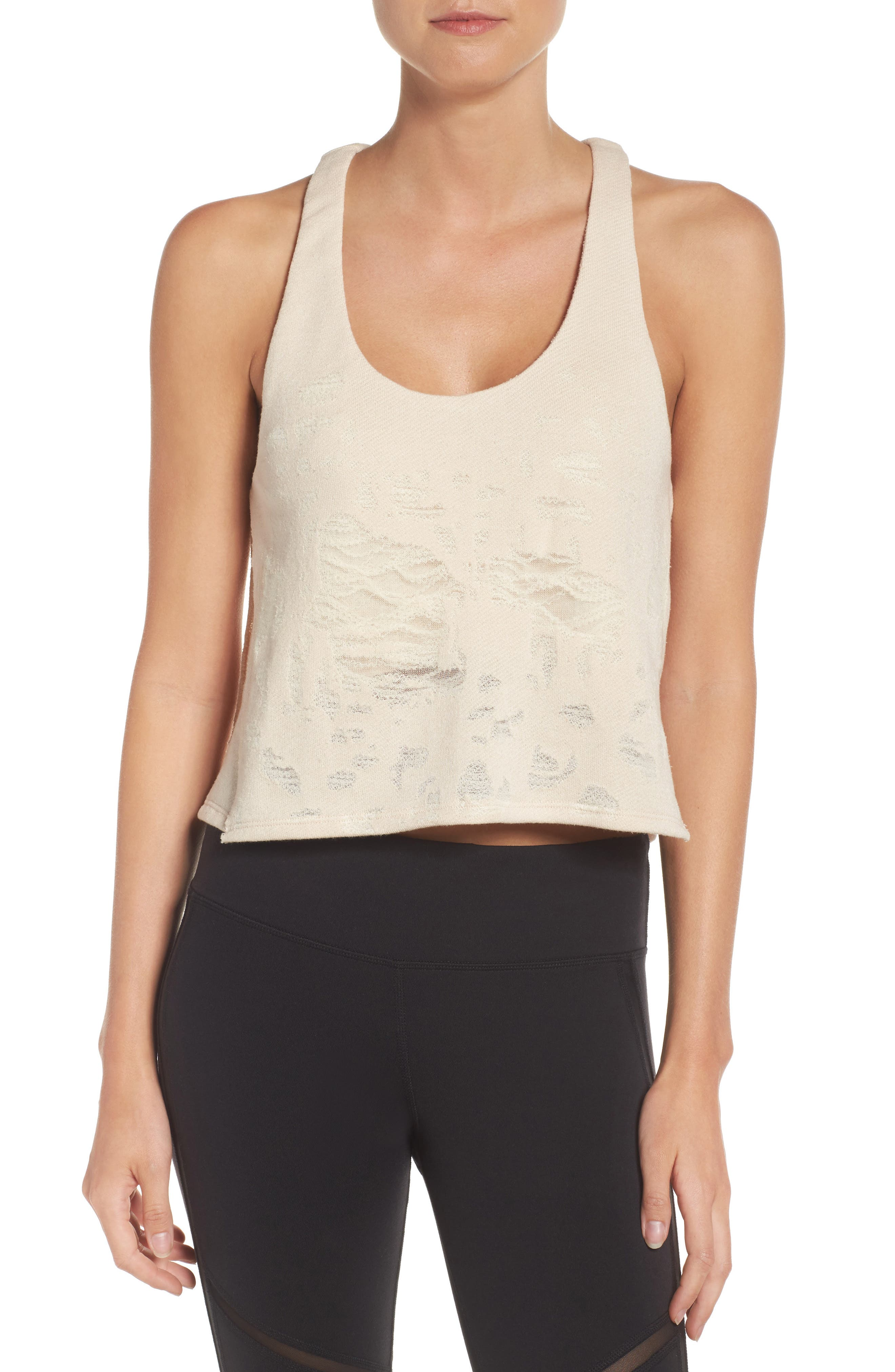 Step Crop Tank,                         Main,                         color, Rich Sand Distressed