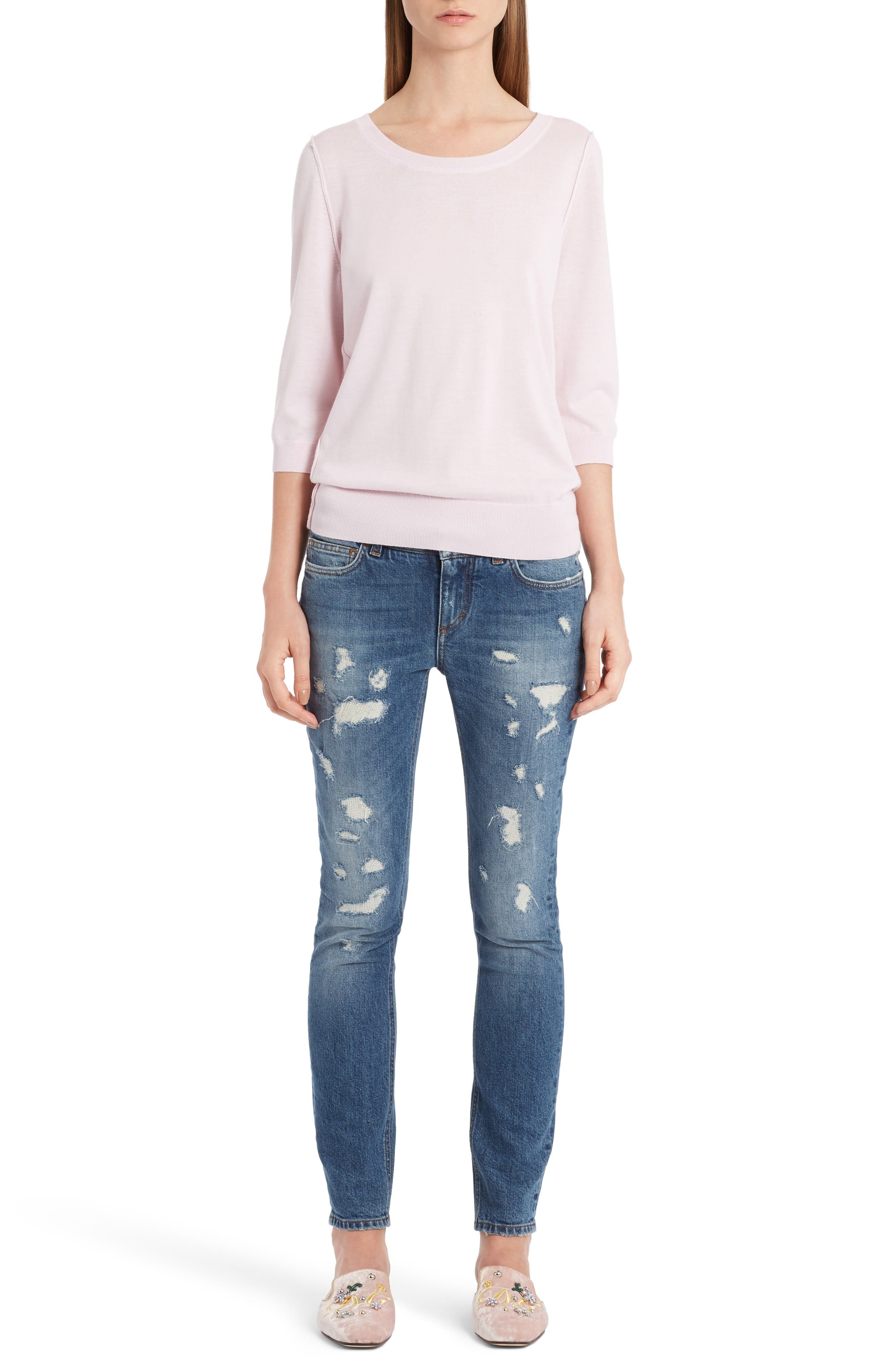 Cashmere Sweater,                             Alternate thumbnail 7, color,                             Powder Pink