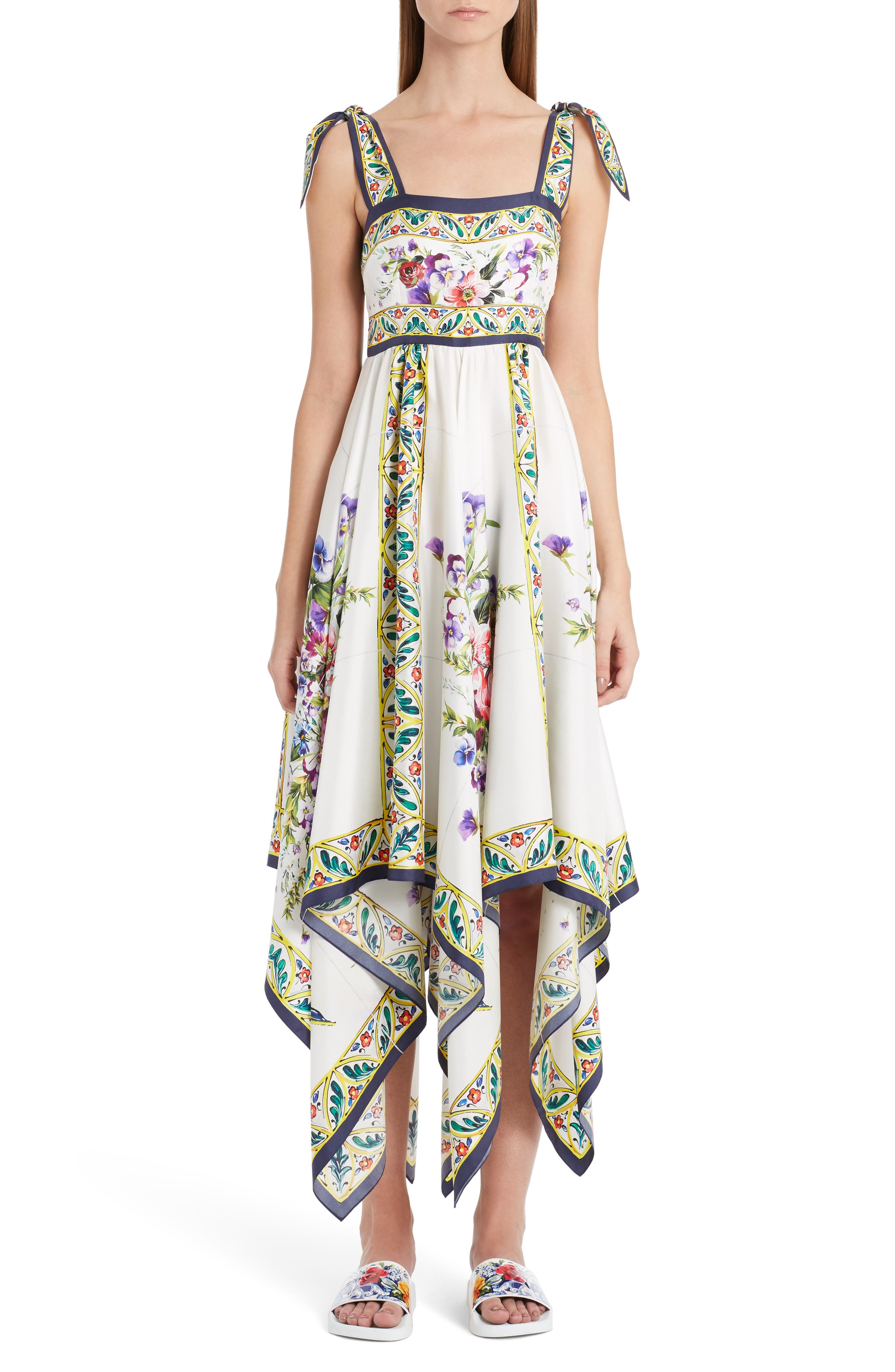 Print Silk Handkerchief Hem Dress,                         Main,                         color, Maioliche Print
