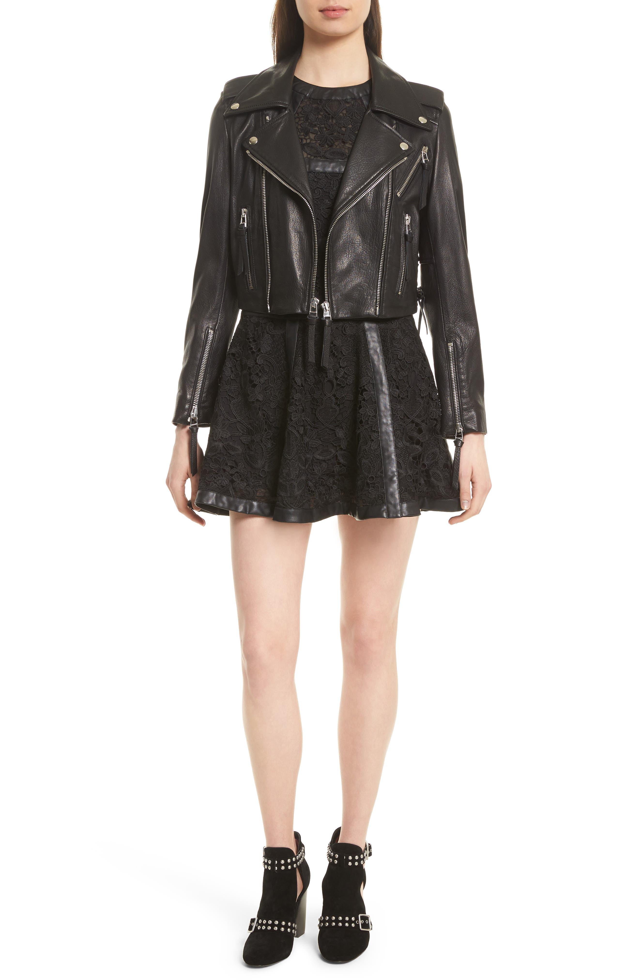 Lace-Up Lambskin Leather Jacket,                             Alternate thumbnail 2, color,                             Black