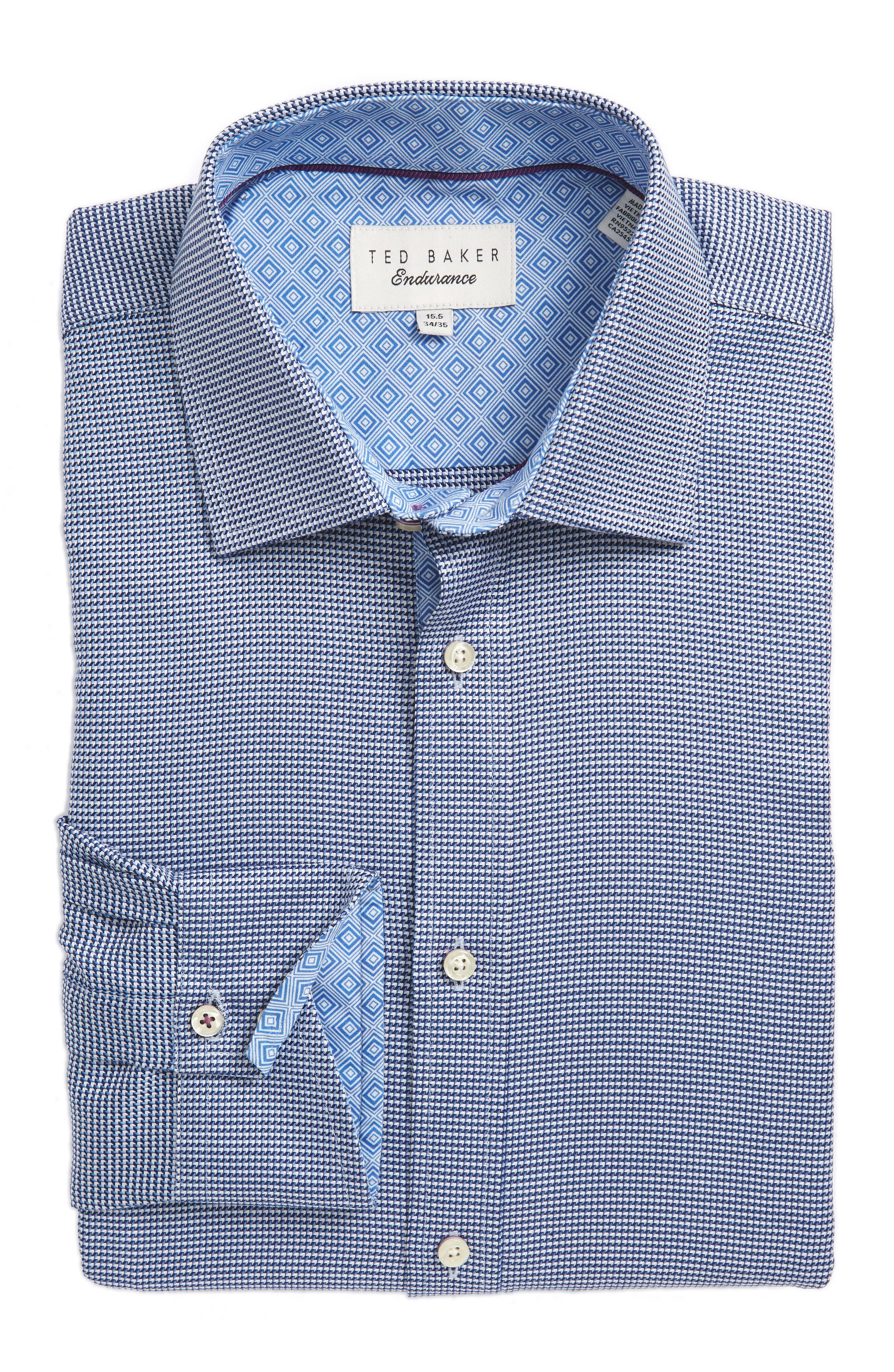 Chimy Trim Fit Geometric Dress Shirt,                         Main,                         color, Blue