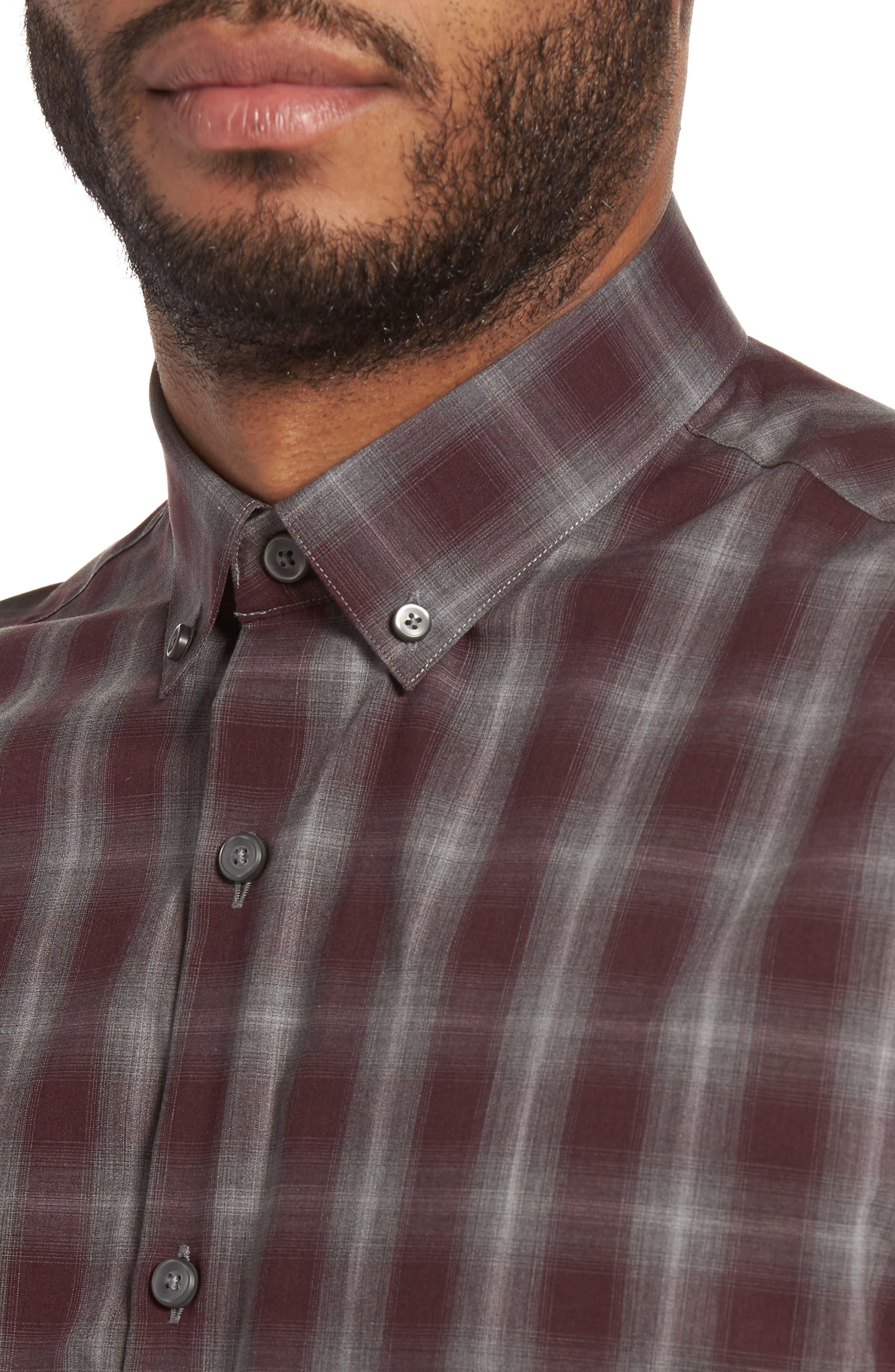 Plaid Non-Iron Sport Shirt,                             Alternate thumbnail 4, color,                             Burgundy Stem Gradient Check