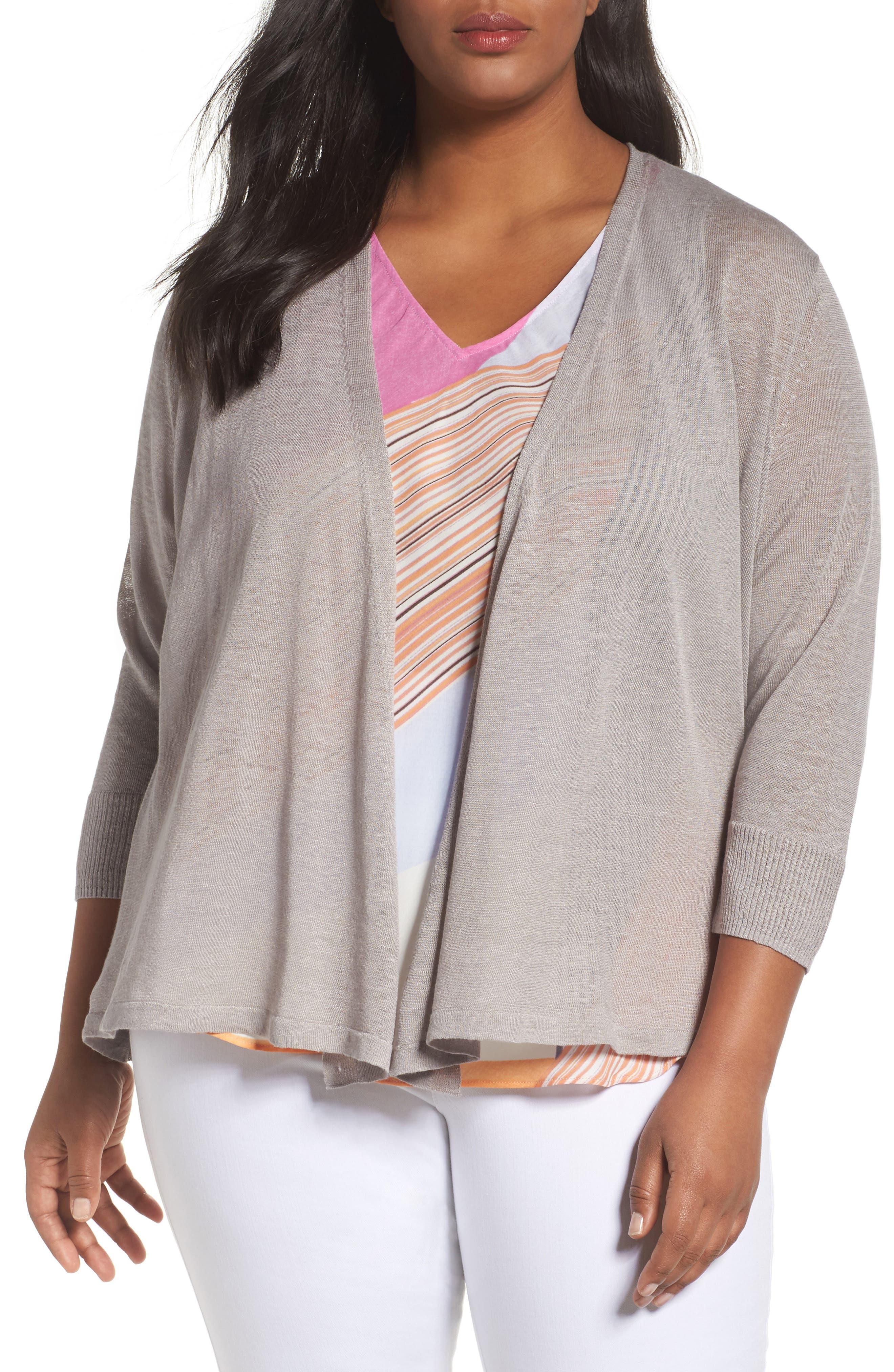 Main Image - NIC+ZOE '4-Way' Three Quarter Sleeve Convertible Cardigan (Plus Size)