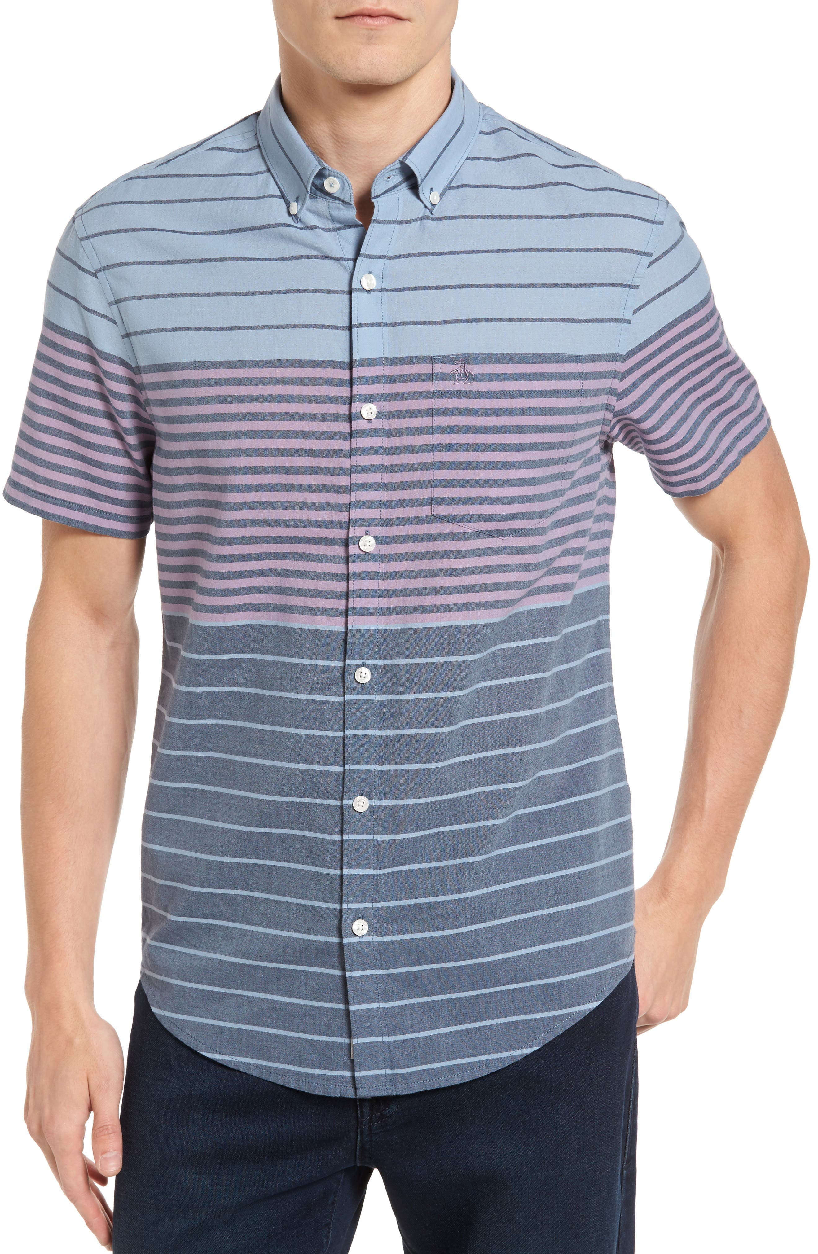 Original Penguin Heritage Slim Fit Colorblock Stripe Shirt