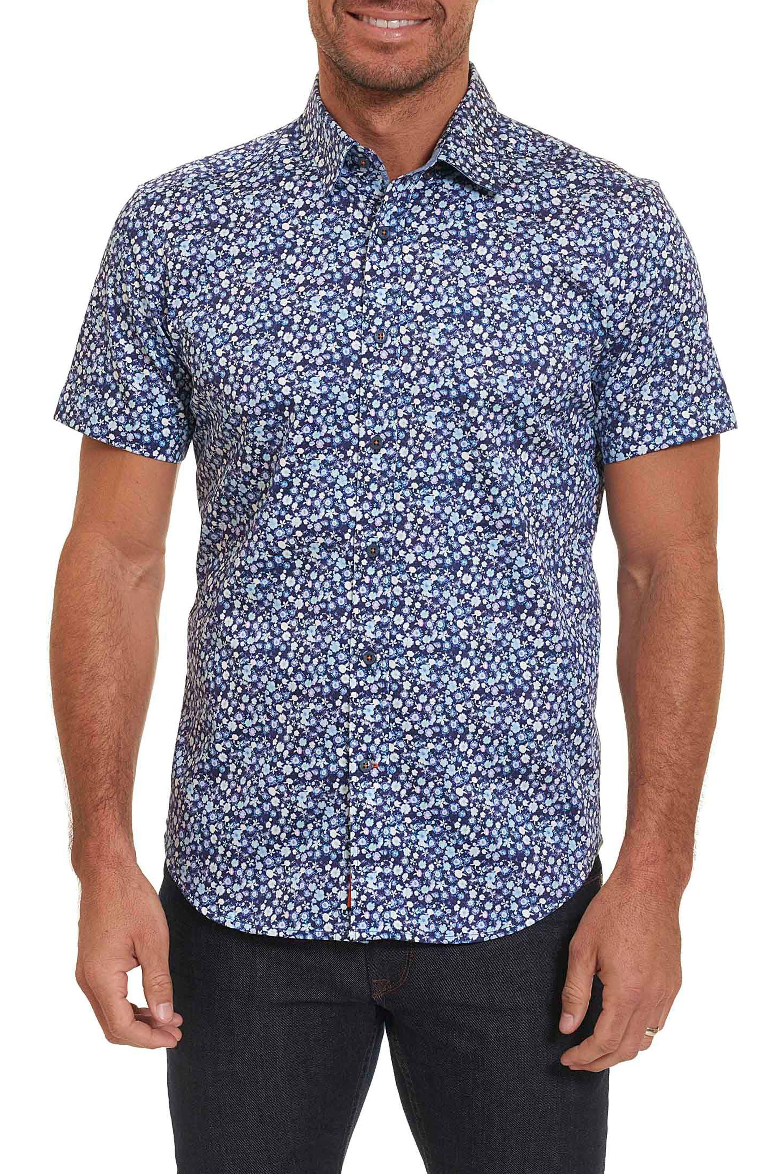 Bronson Tailored Fit Print Short Sleeve Sport Shirt,                             Main thumbnail 1, color,                             Blue