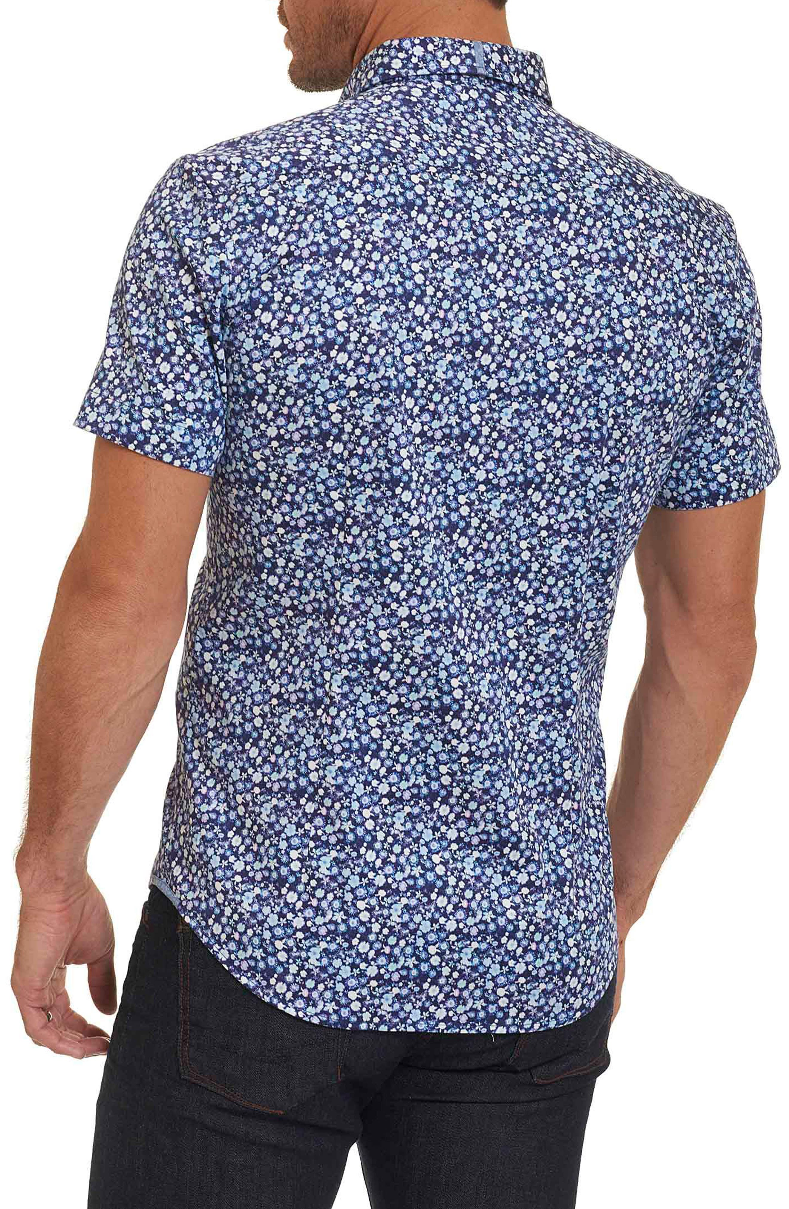 Bronson Tailored Fit Print Short Sleeve Sport Shirt,                             Alternate thumbnail 2, color,                             Blue