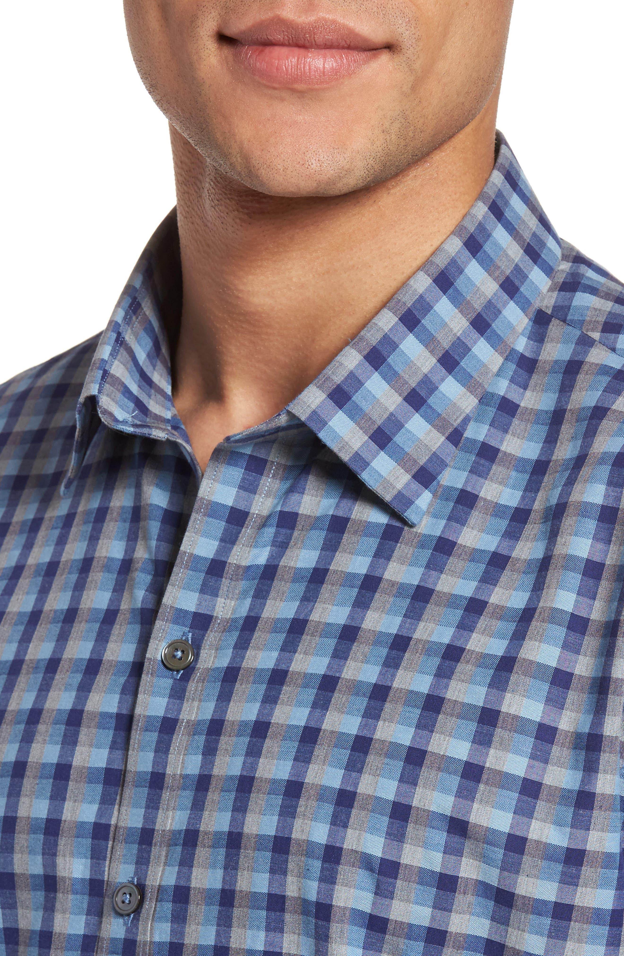 Check Short Sleeve Sport Shirt,                             Alternate thumbnail 2, color,                             Blue