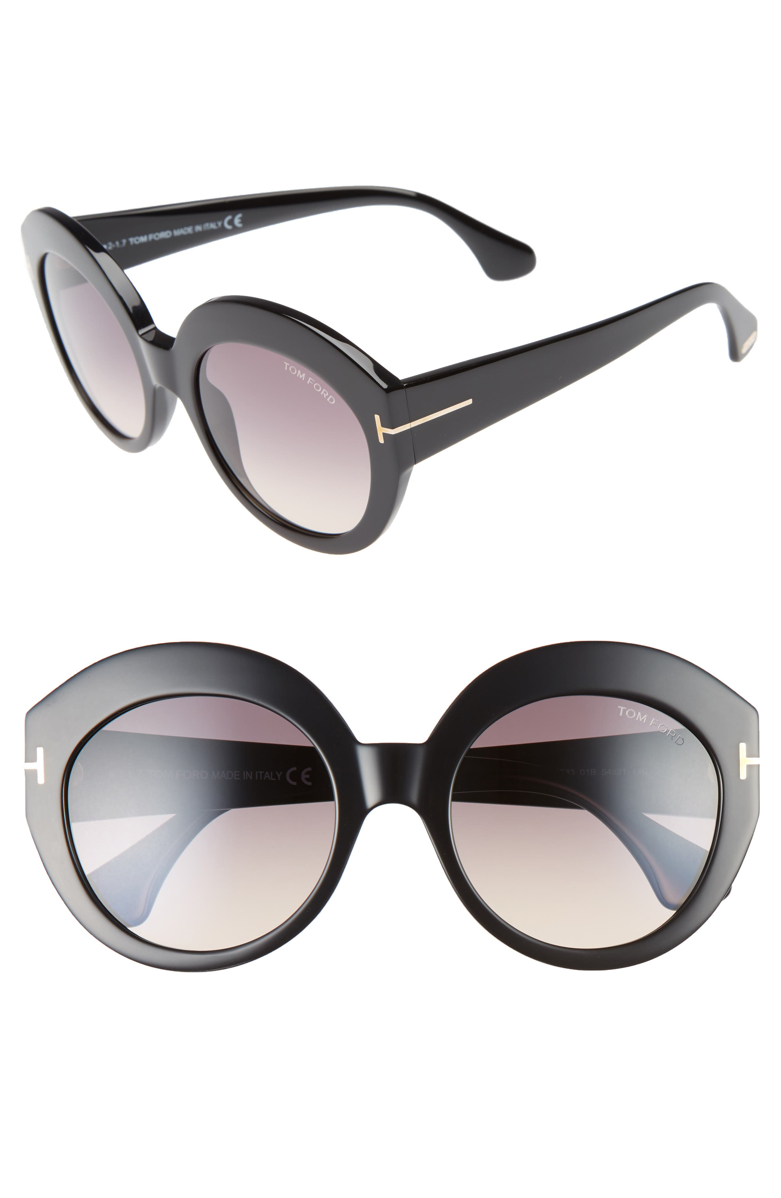 Rachel 54mm Gradient Lens Sunglasses,                             Main thumbnail 1, color,                             Shiny Black/ Gradient Smoke