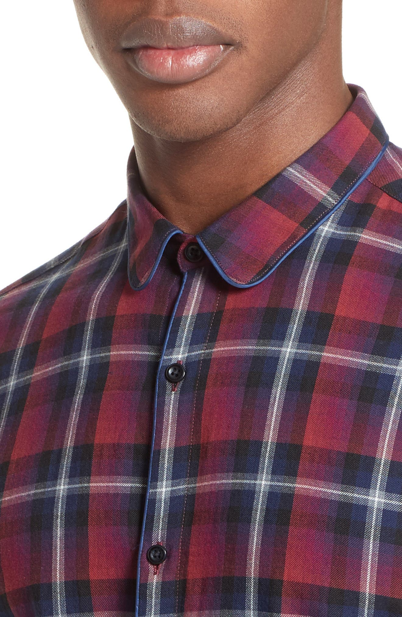 Contrast Piping Plaid Sport Shirt,                             Alternate thumbnail 4, color,                             Red