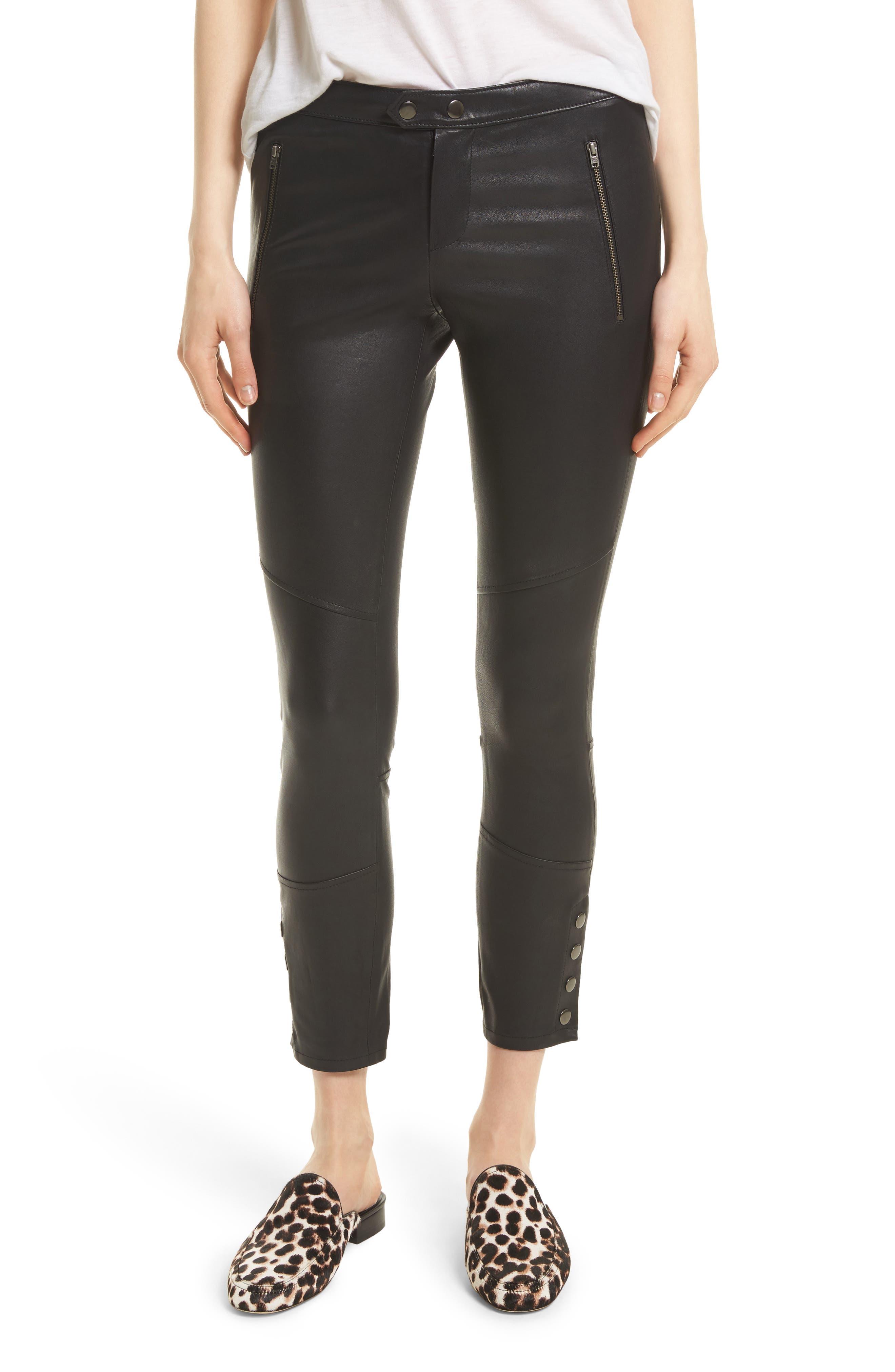 Darnella Leather Pants,                         Main,                         color, Caviar