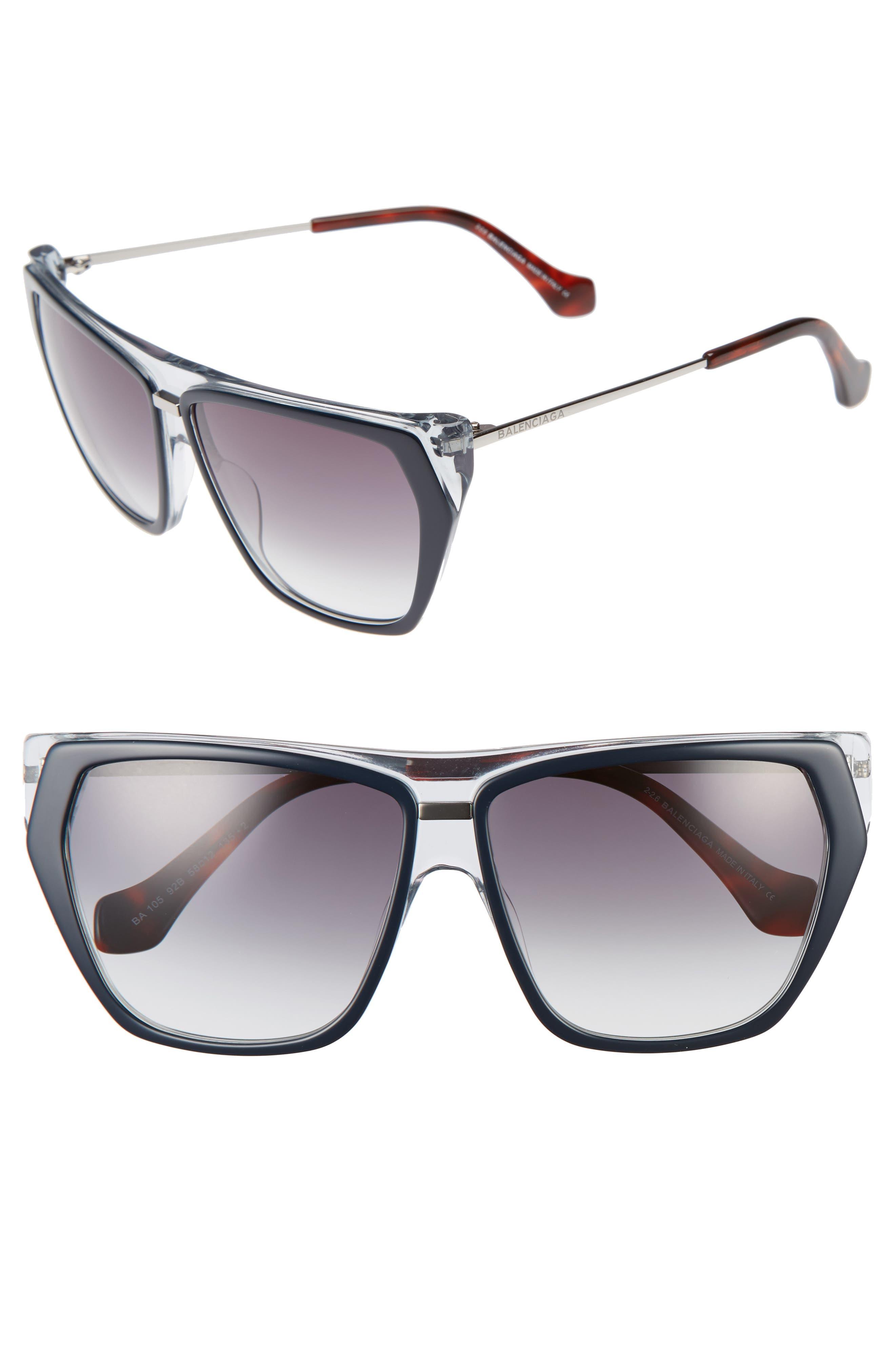 58mm Gradient Sunglasses,                         Main,                         color, Blu Crys/ Havana/ Grdient Smke