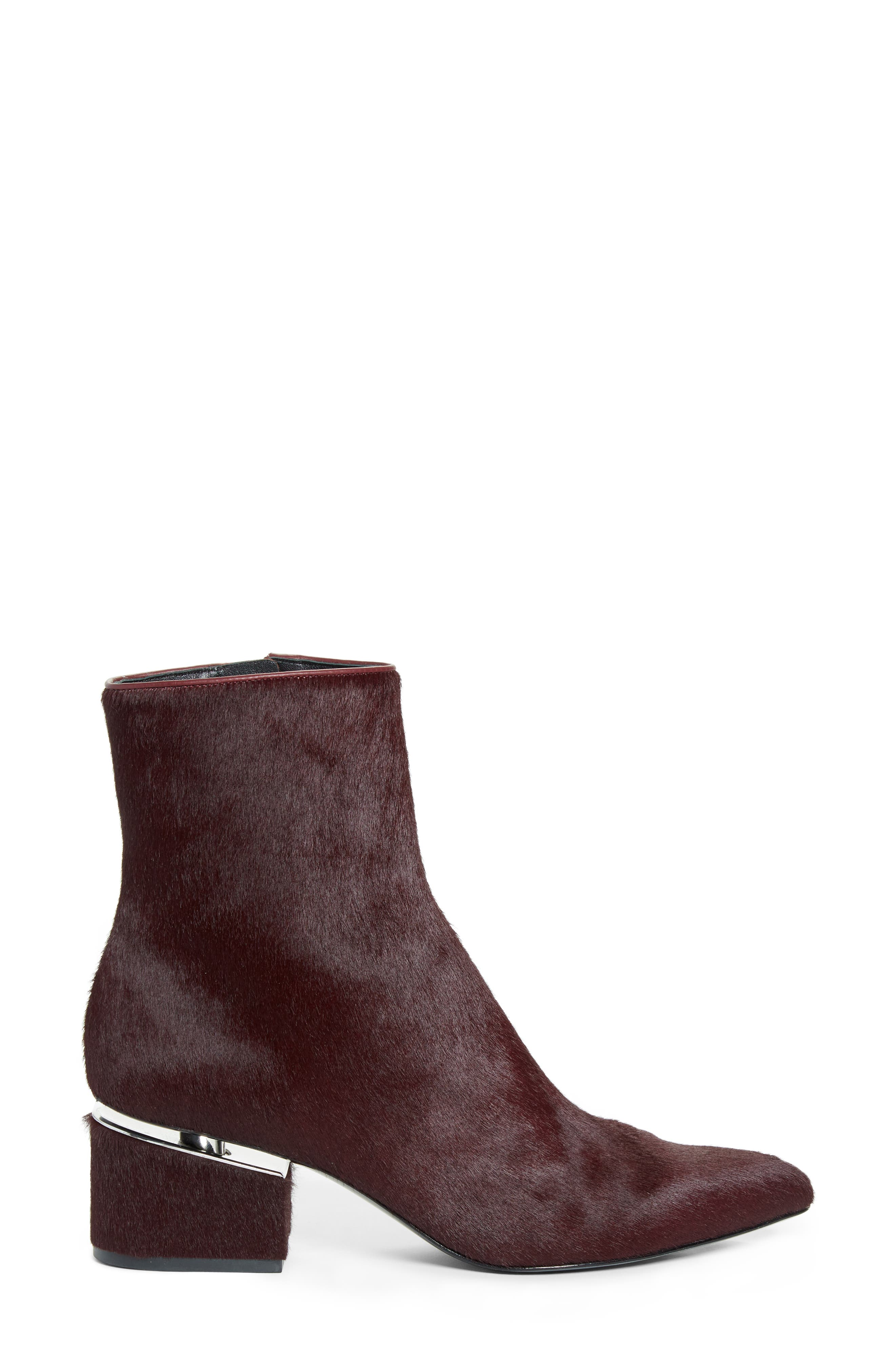 Jude Genuine Calf Hair Bootie,                             Alternate thumbnail 3, color,                             Burgundy Leather