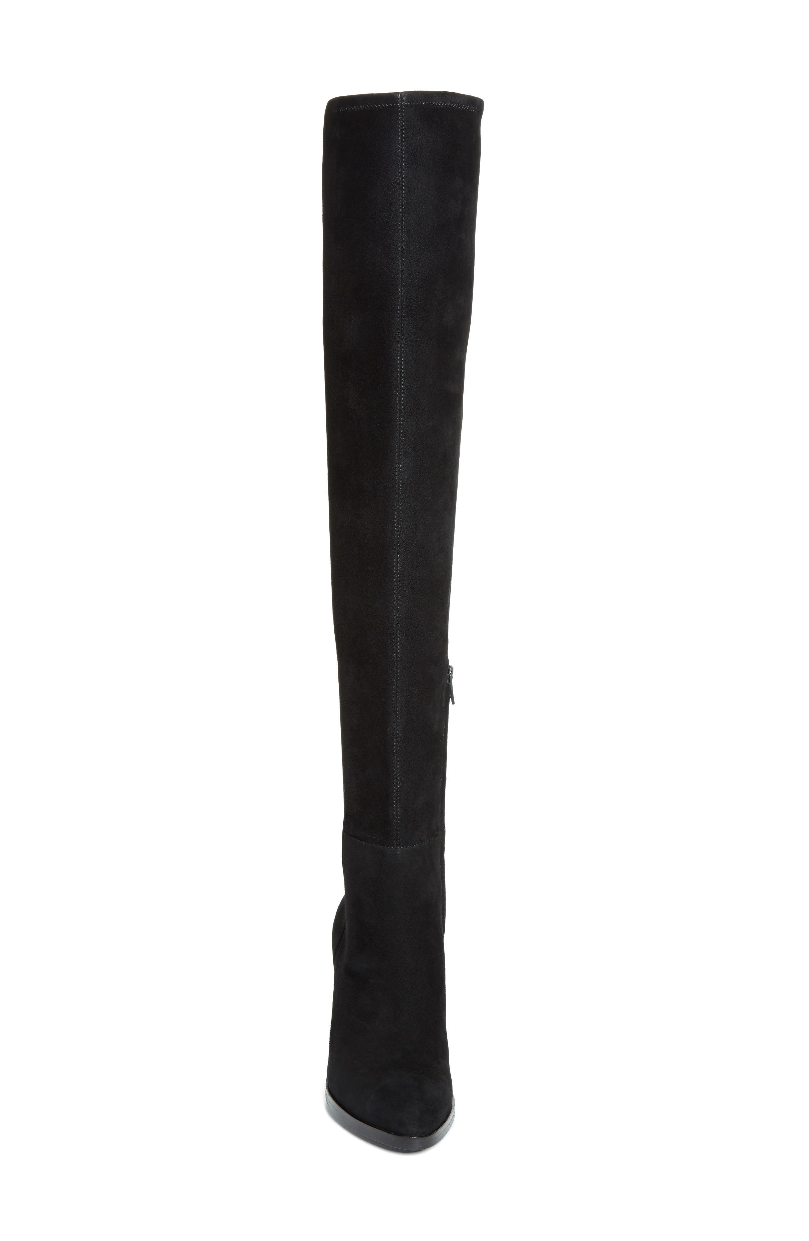 Gabi Over the Knee Boot,                             Alternate thumbnail 4, color,                             Black Suede