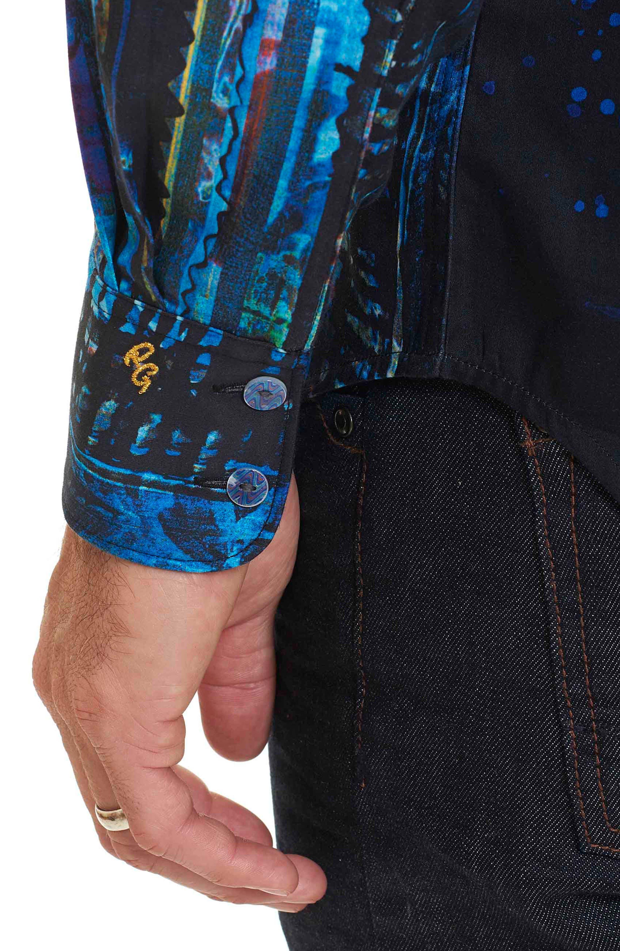 Kathleen's Blues Classic Fit Print Sport Shirt,                             Alternate thumbnail 3, color,                             Multi