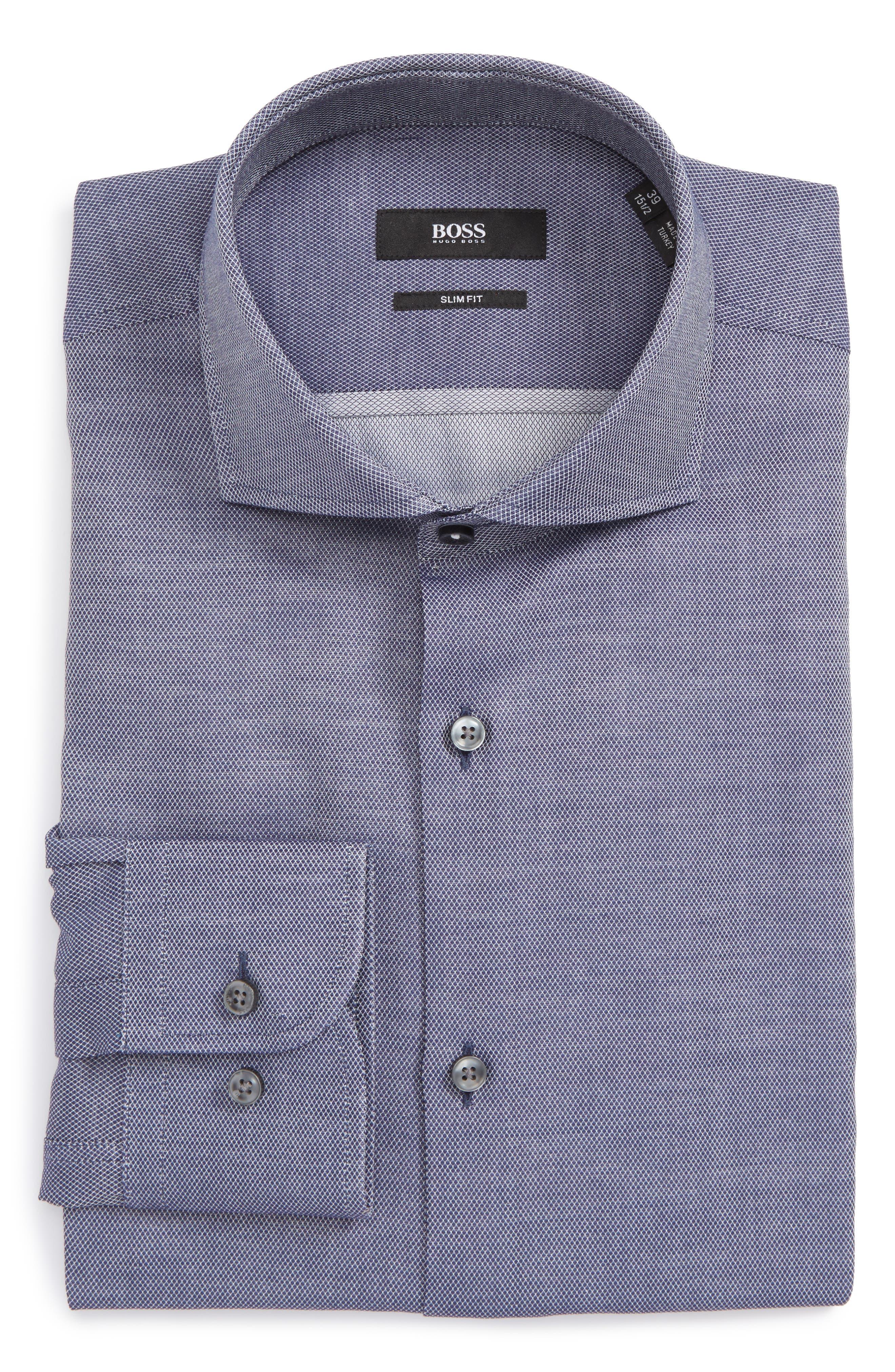 Jerrin Slim Fit Diamond Dress Shirt,                             Main thumbnail 1, color,                             Navy