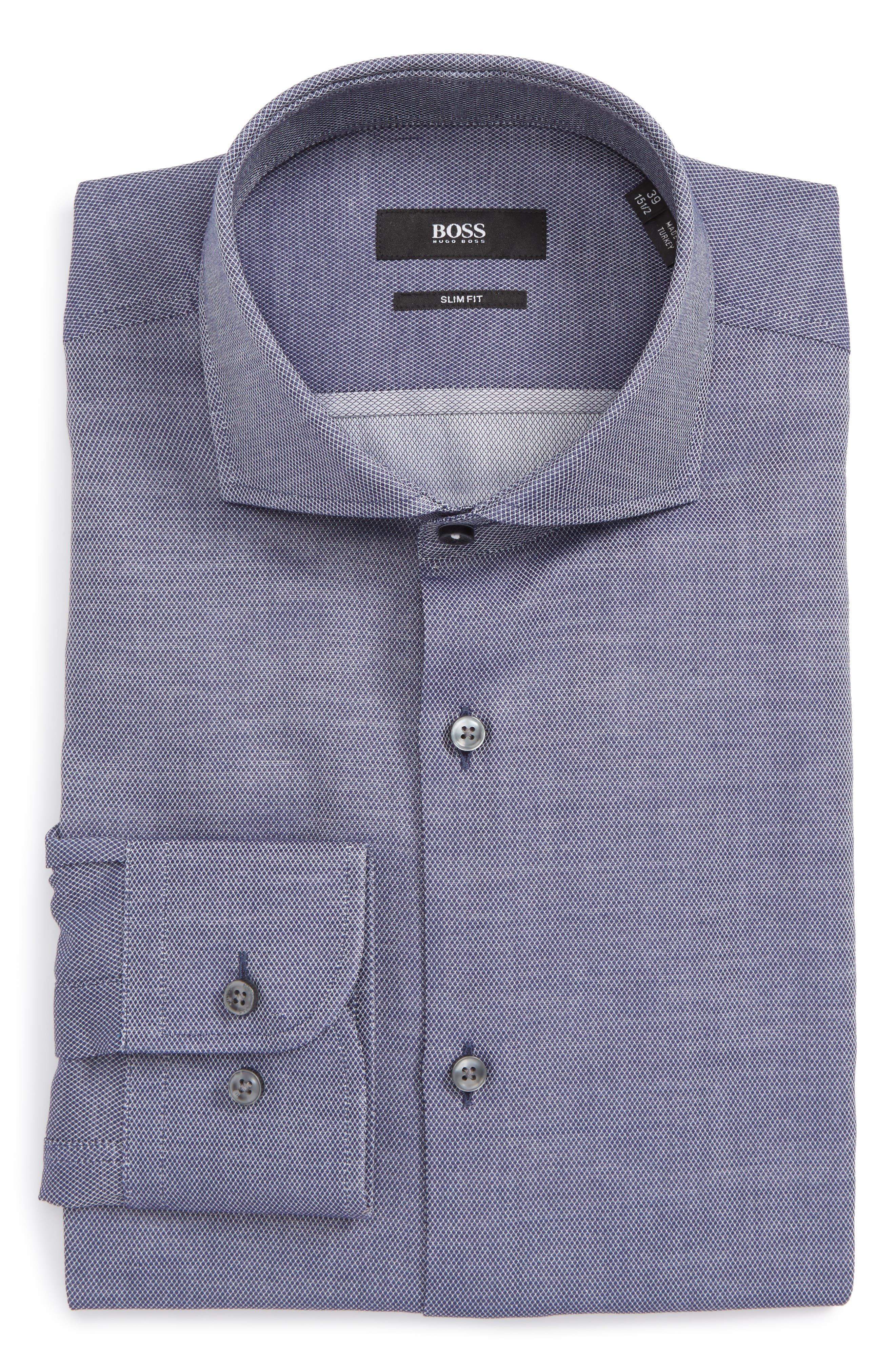 Jerrin Slim Fit Diamond Dress Shirt,                         Main,                         color, Navy