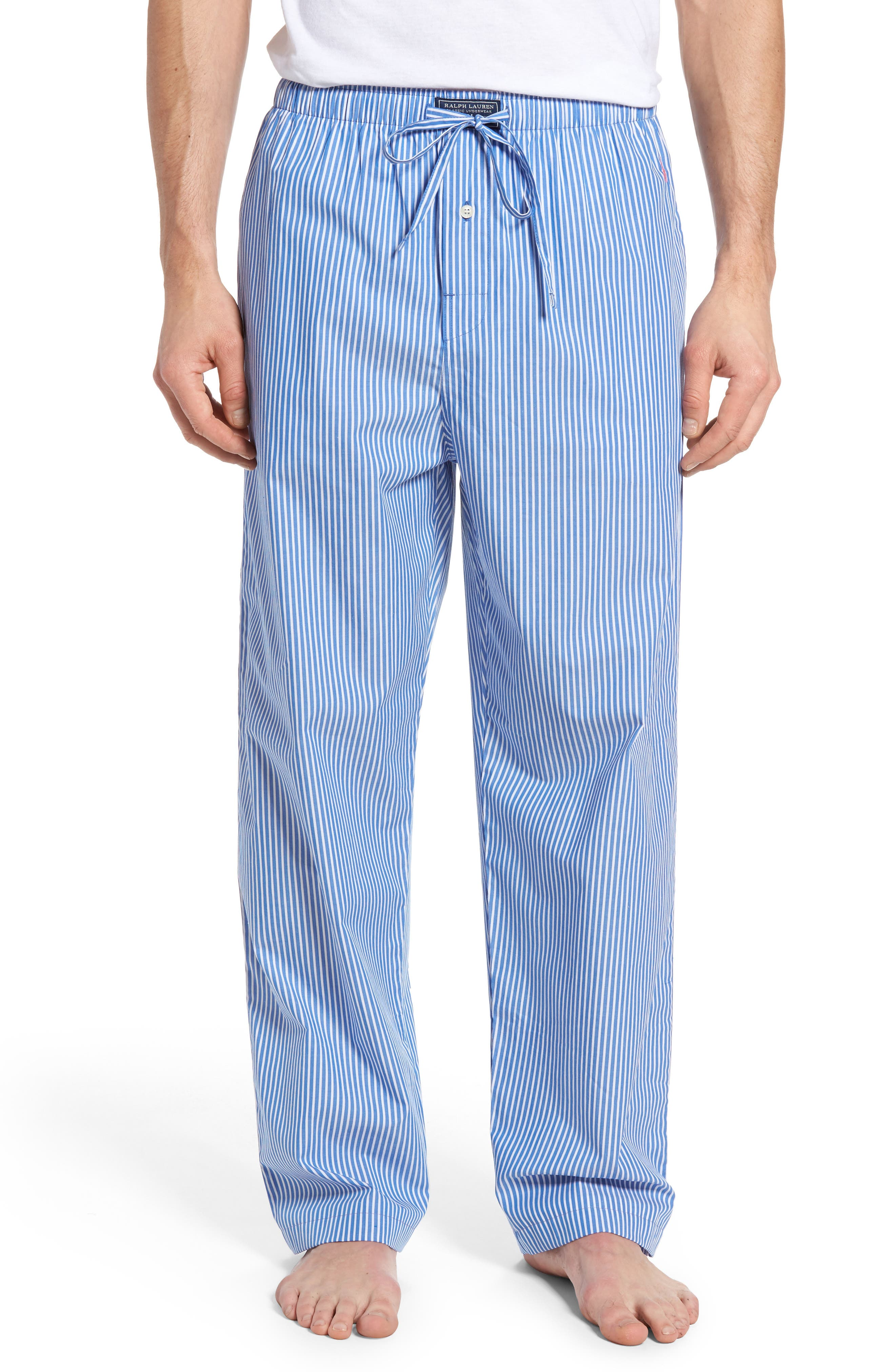 Cotton Lounge Pants,                         Main,                         color, King Blue Stripe